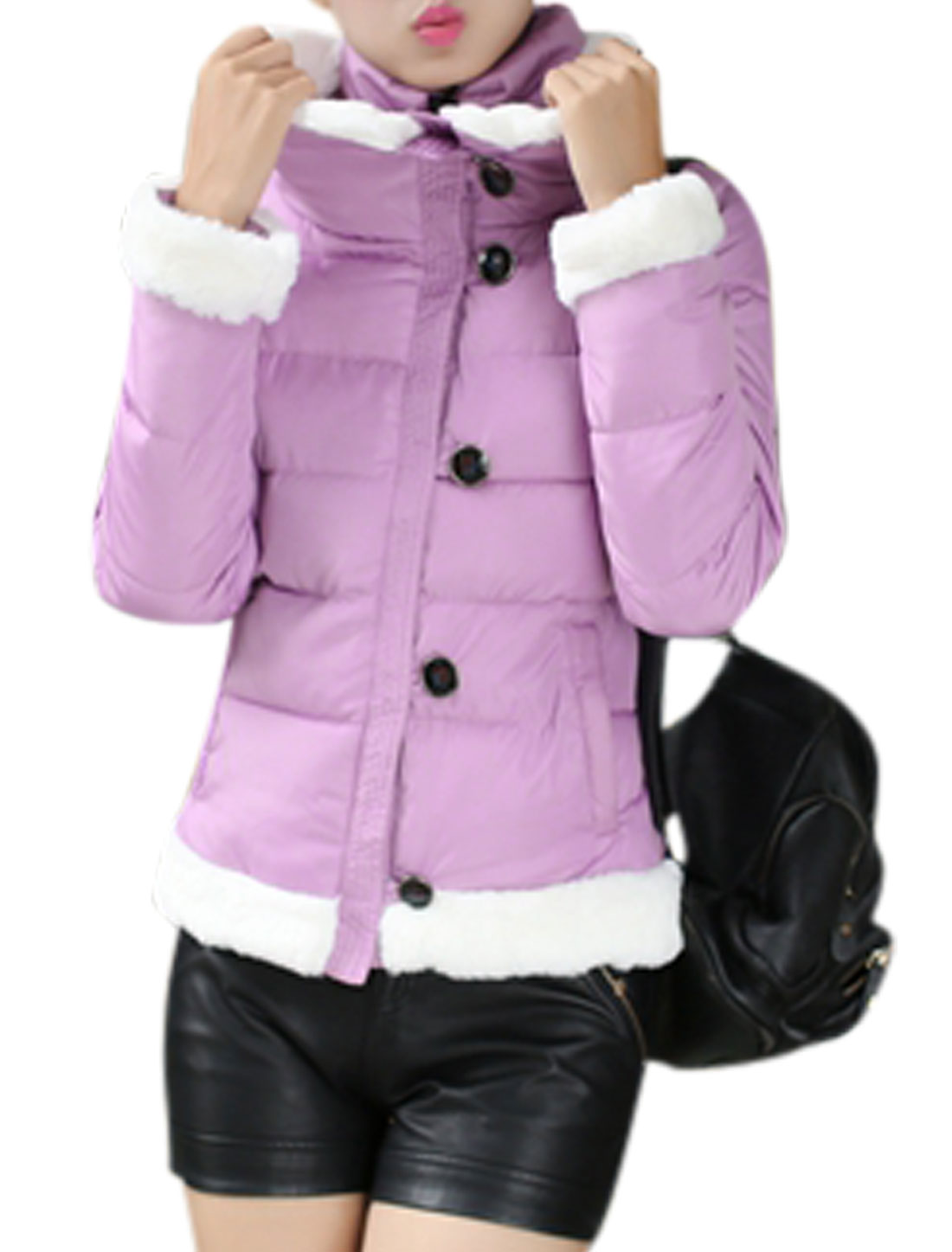 Zip Closure Button Up Light Purple Padded Coat for Lady M
