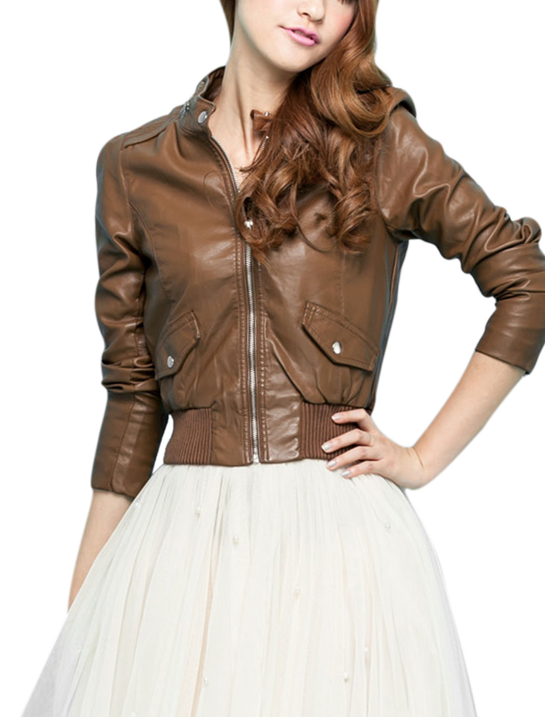 Lady Zip Up Stand Collar Long Sleeve Bolero Imitation Leather Jacket Brown XS