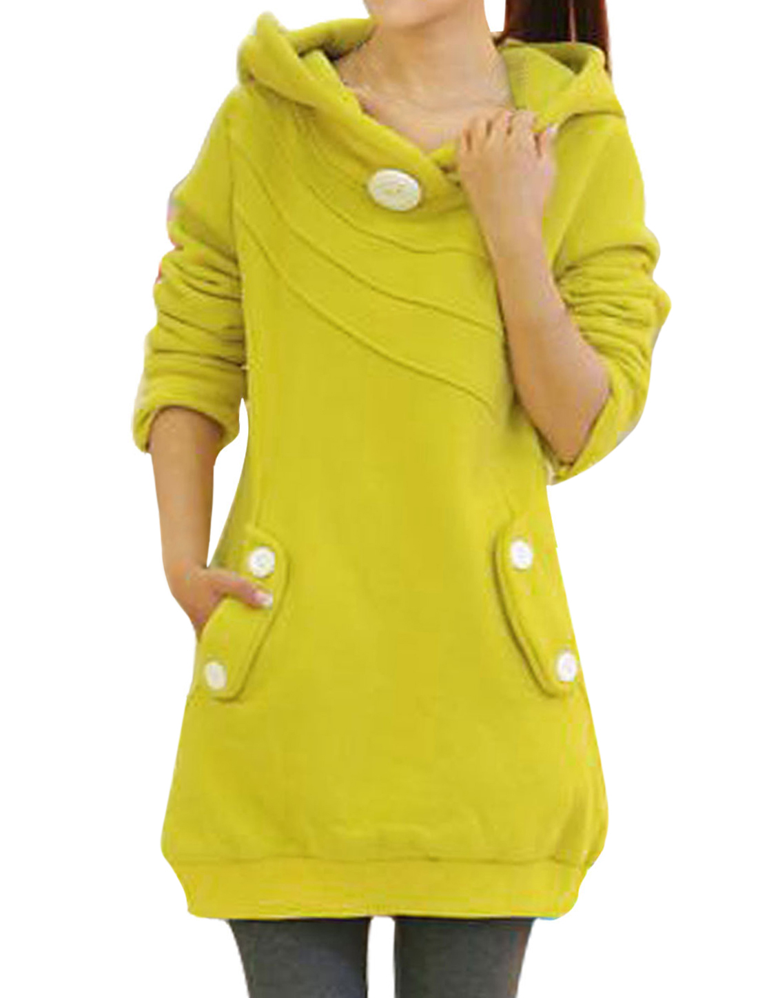 Women Buttons Decor Double Slant Pockets Ribbed Hem Long Hoodie Yellow M