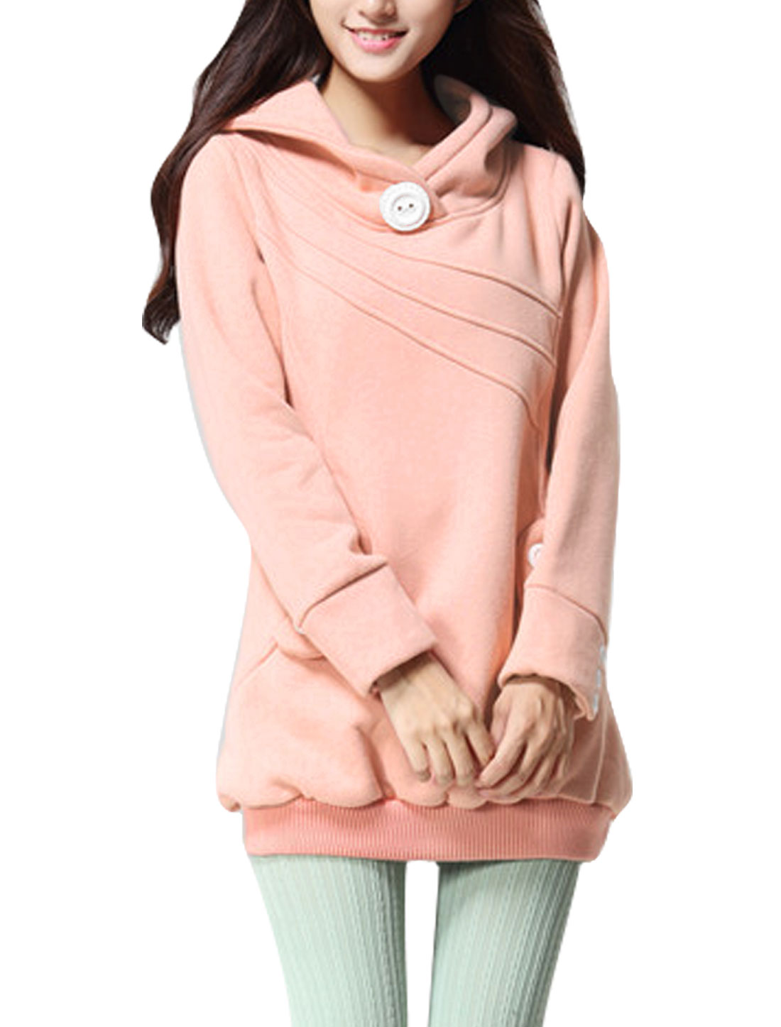 Lady Slipover Buttons Decor Ribbed Hem Leisure Long Hoodie Pink M