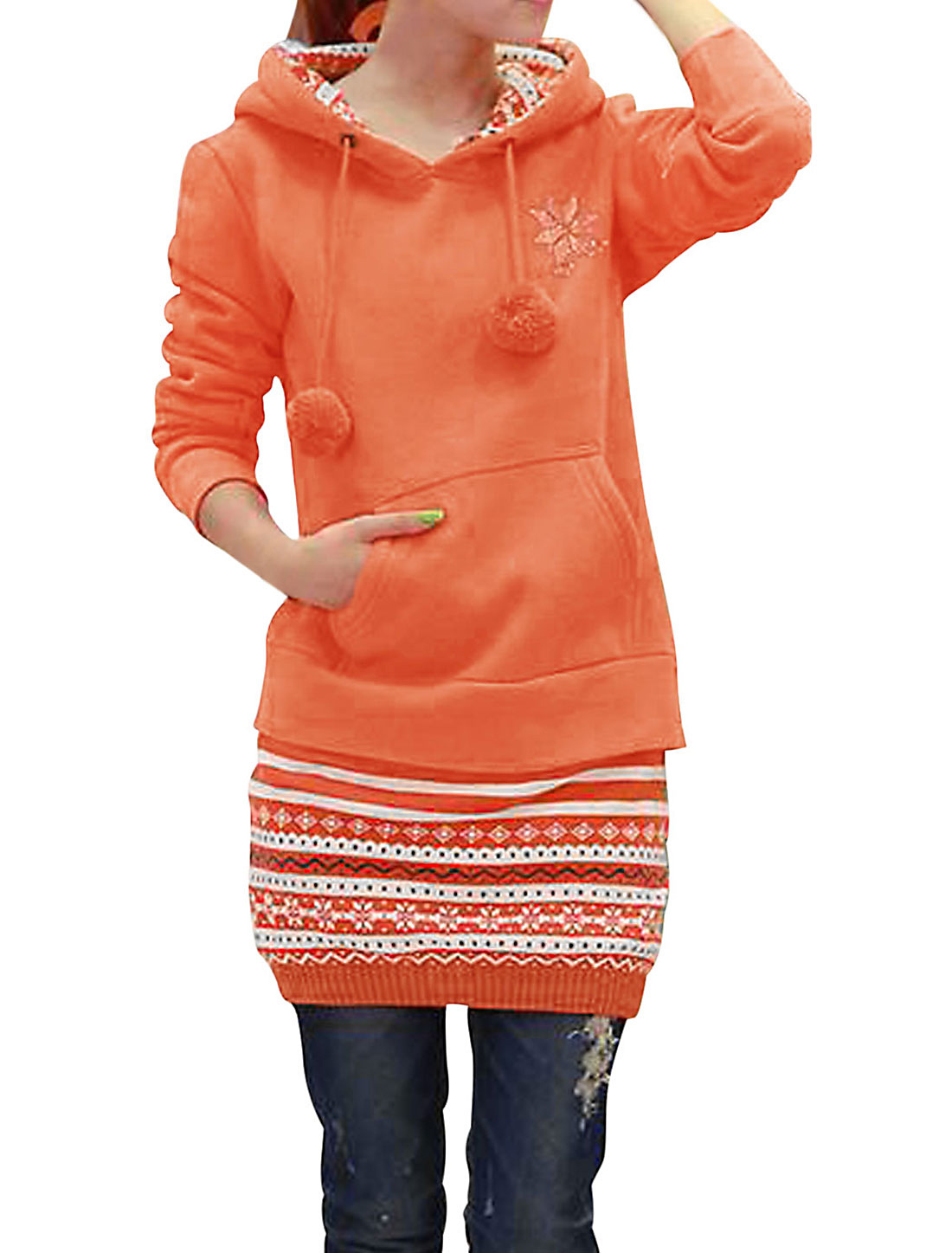Lady Knitted Panel Design Hooded Pom-pom Tunic Sweatshirt Orange M