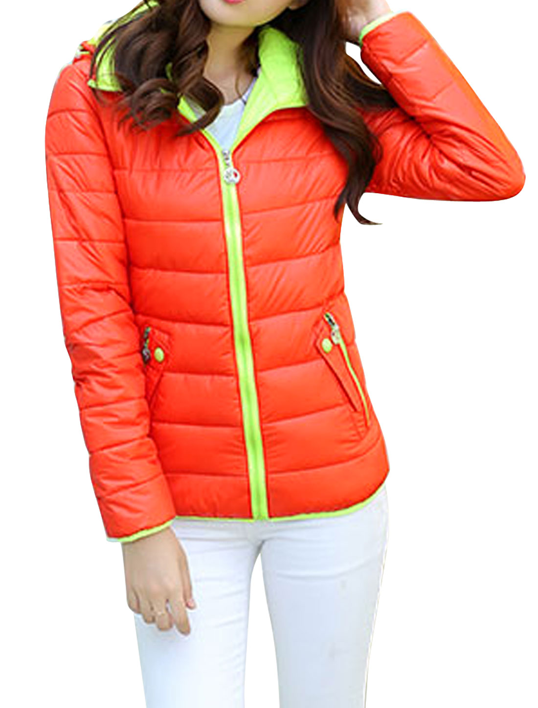 Women Zip Up Double Slant Pockets Long Sleeve Hooded Down Jacket Orange S