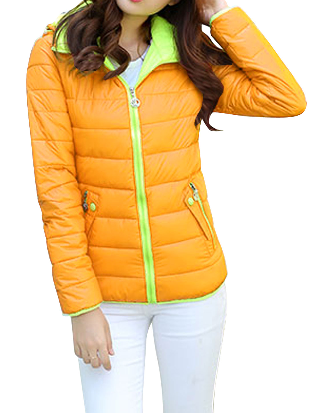Lady Zipper Closure Front Buttons Decor Leisure Down Jacket Yellow S