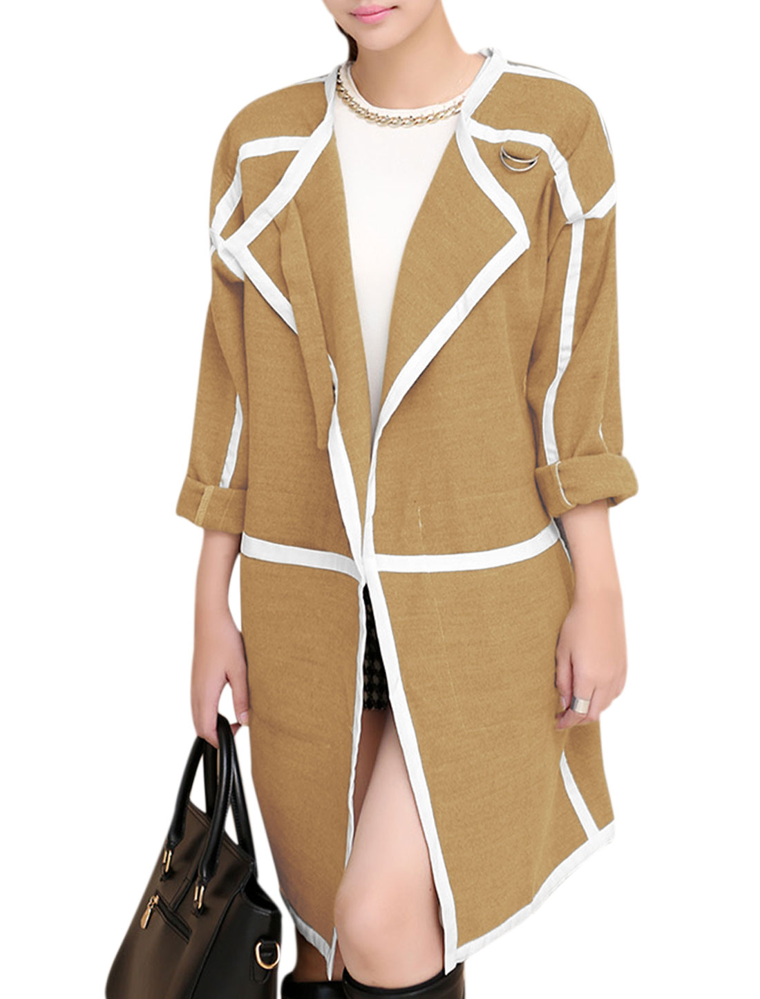 Women Open Front Double Vertical Pockets Loose Trench Peacoat Camel L