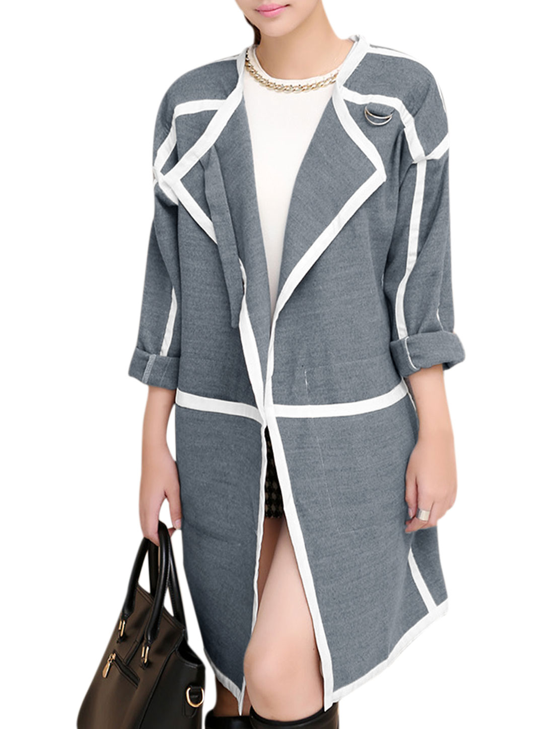 Lady Front Opening Buckle Design Detail Leisure Trench Peacoat Gray L