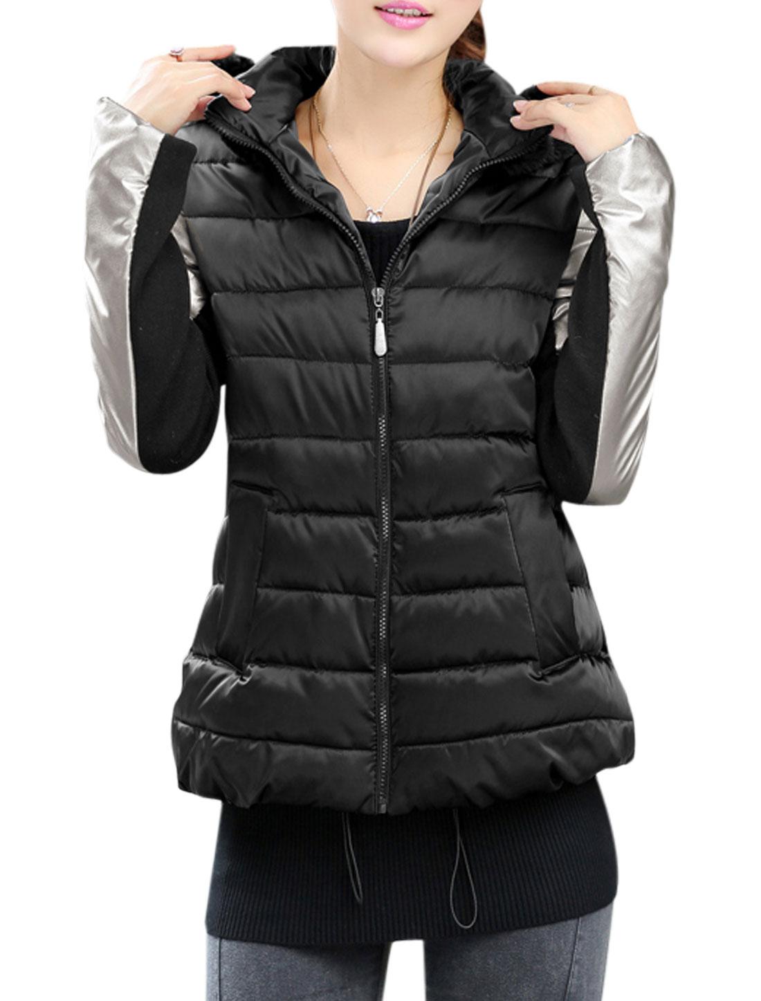 Women Zip Up Panel Design Hooded Padded Coat Black S