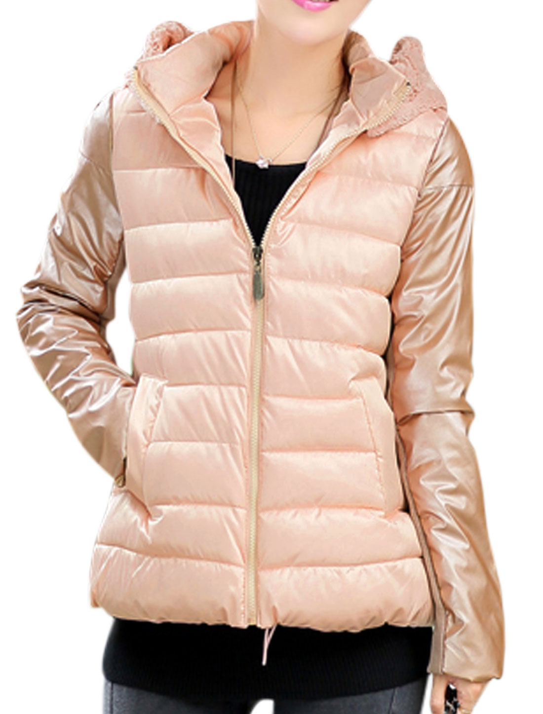 Ladies Long Sleeves Stand Collar Pink Hooded Padded Coat M