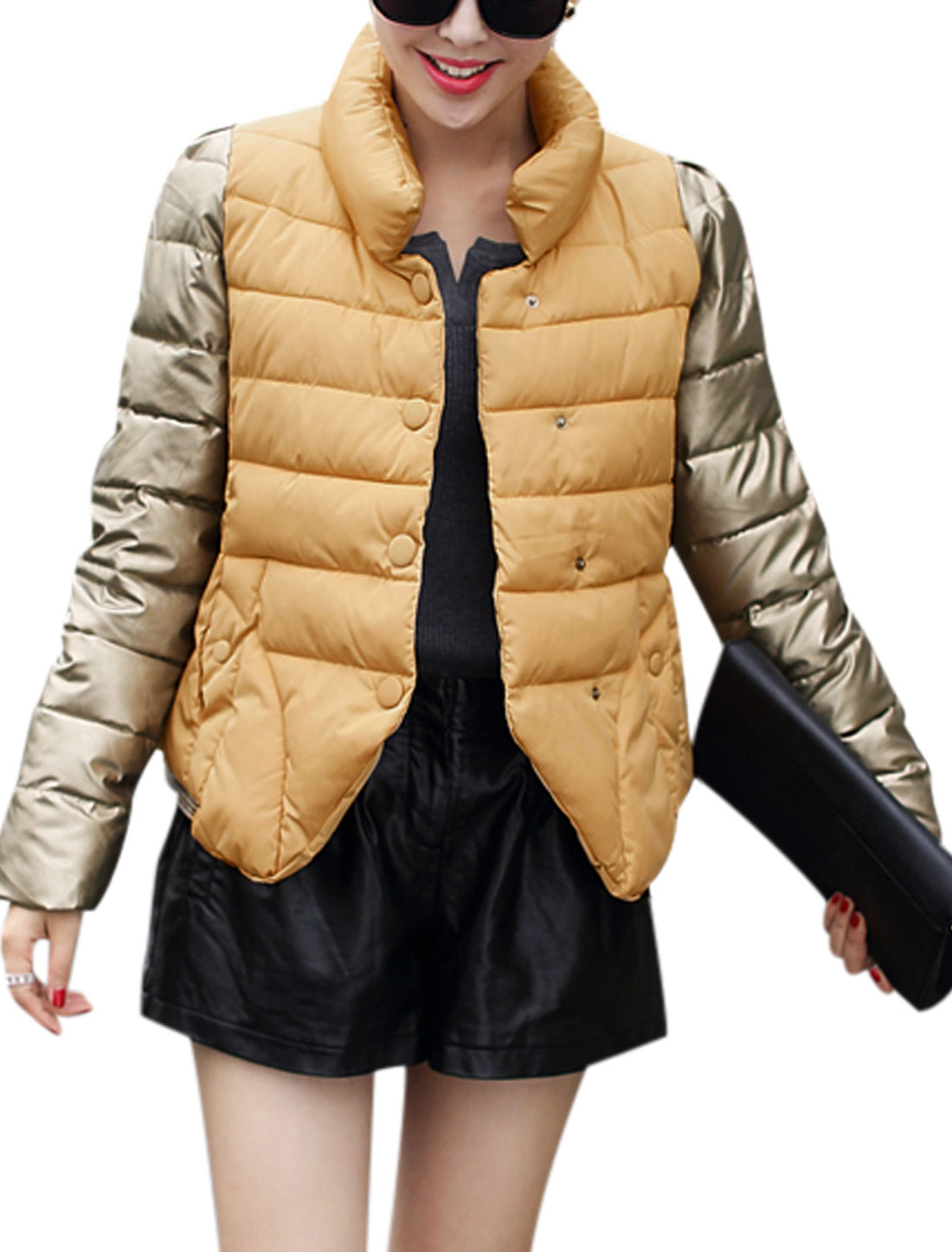 Women Stand Collar Inclined Snap Fastener Padded Coat Orhre M