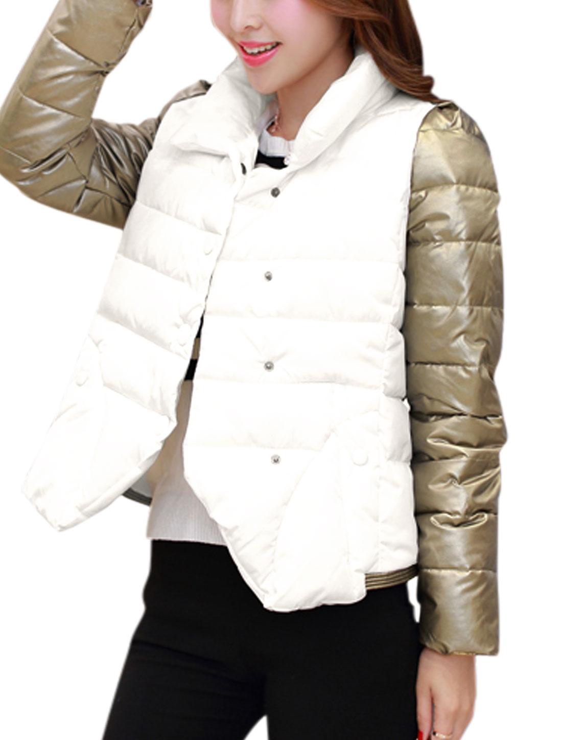 Ladies Long Sleeves Color Block Panel White Padded Coat M