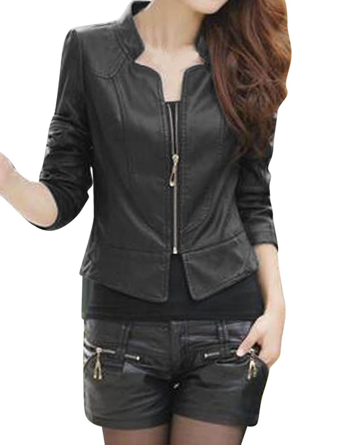 Ladies Black Stand Collar Long Sleeves Zip Up Casual Jacket M