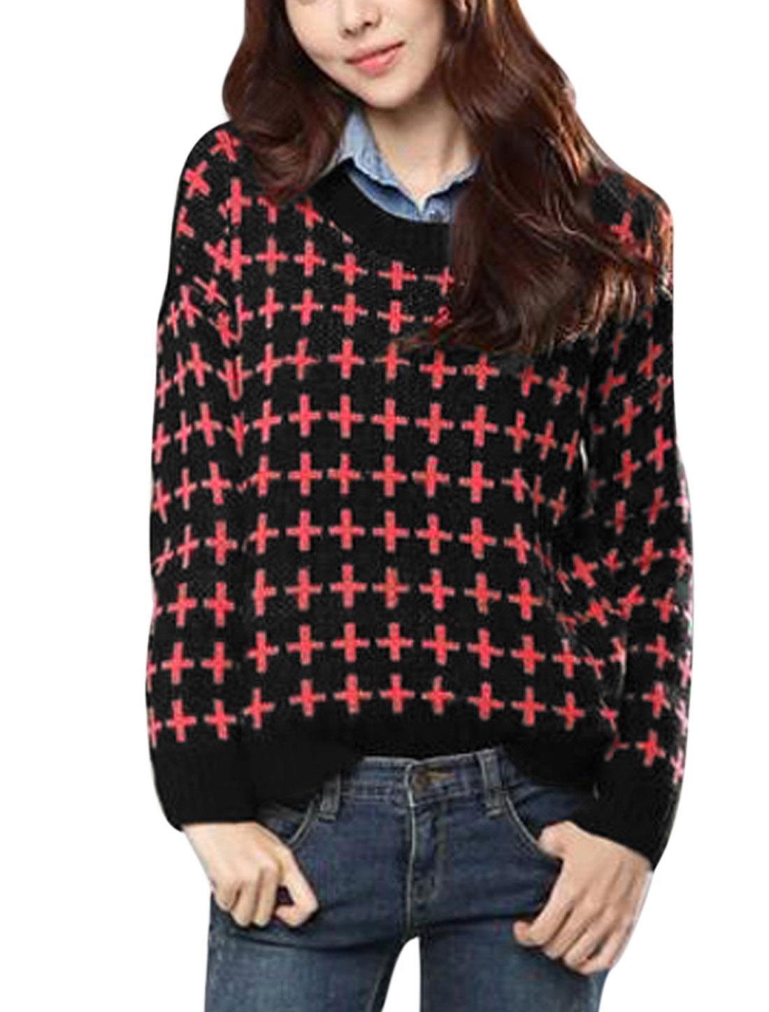Women Round Neck Cross Pattern Asymmetric Hem Casual Sweater Black S