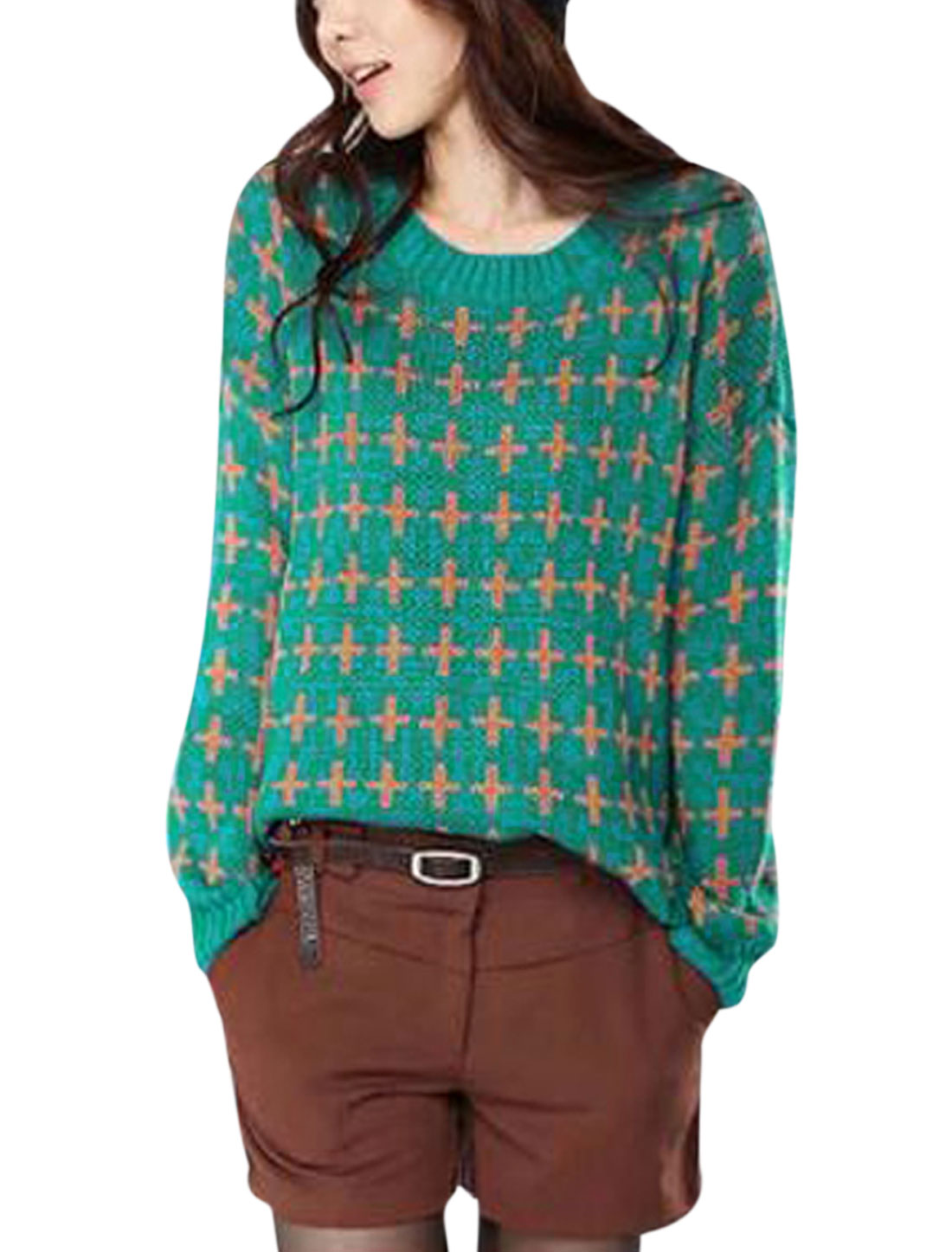 Lady Pullover Cross Pattern Irregular Hem Leisure Sweater Green S