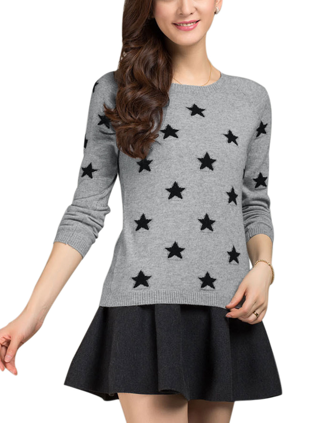 Lady Pullover Stars Pattern Long Sleeve Leisure Knit Shirt Gray S