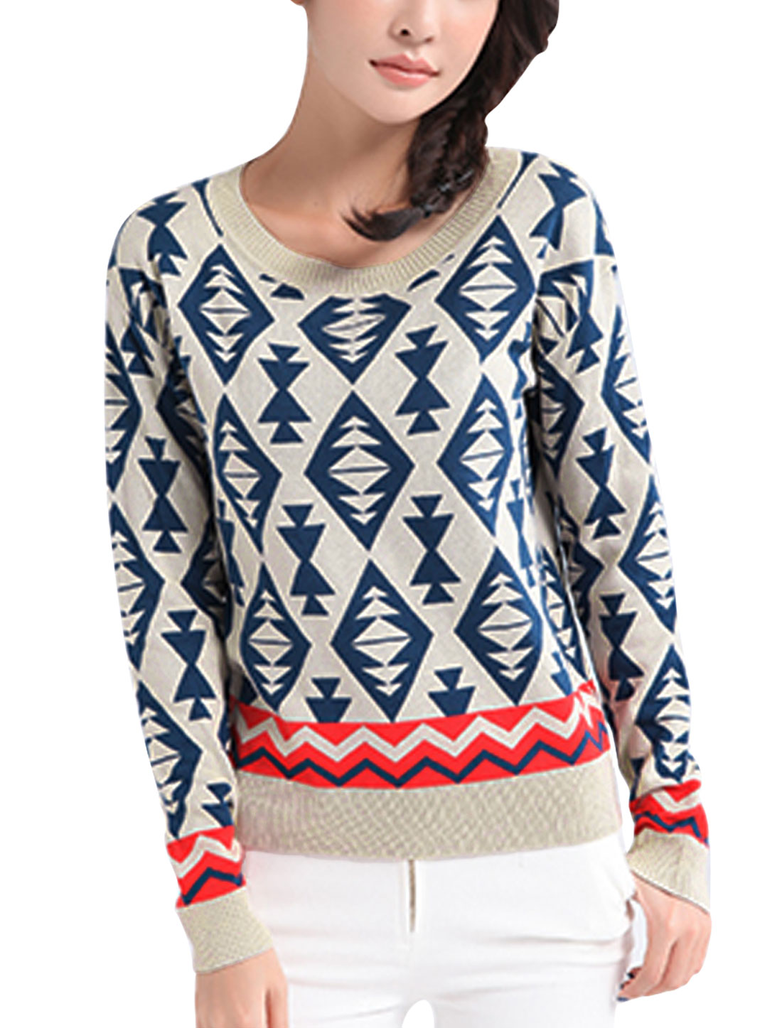 Women Geometric Pattern Round Neck Long Sleeve Knit Shirt Navy Blue Beige S