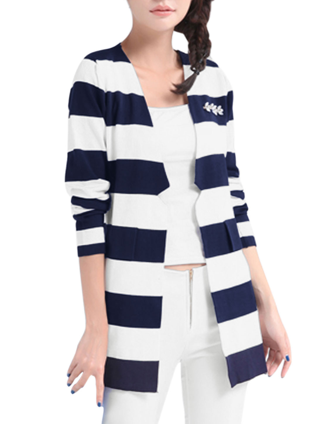 Lady Padded Shoulder Open Front Stripes Long Cardigan Navy Blue White M
