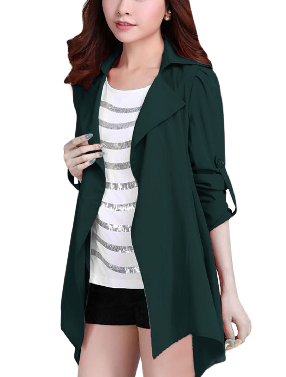 Lady Notched Lapel Front Opening Fashion Trench Coat Dusty Green L