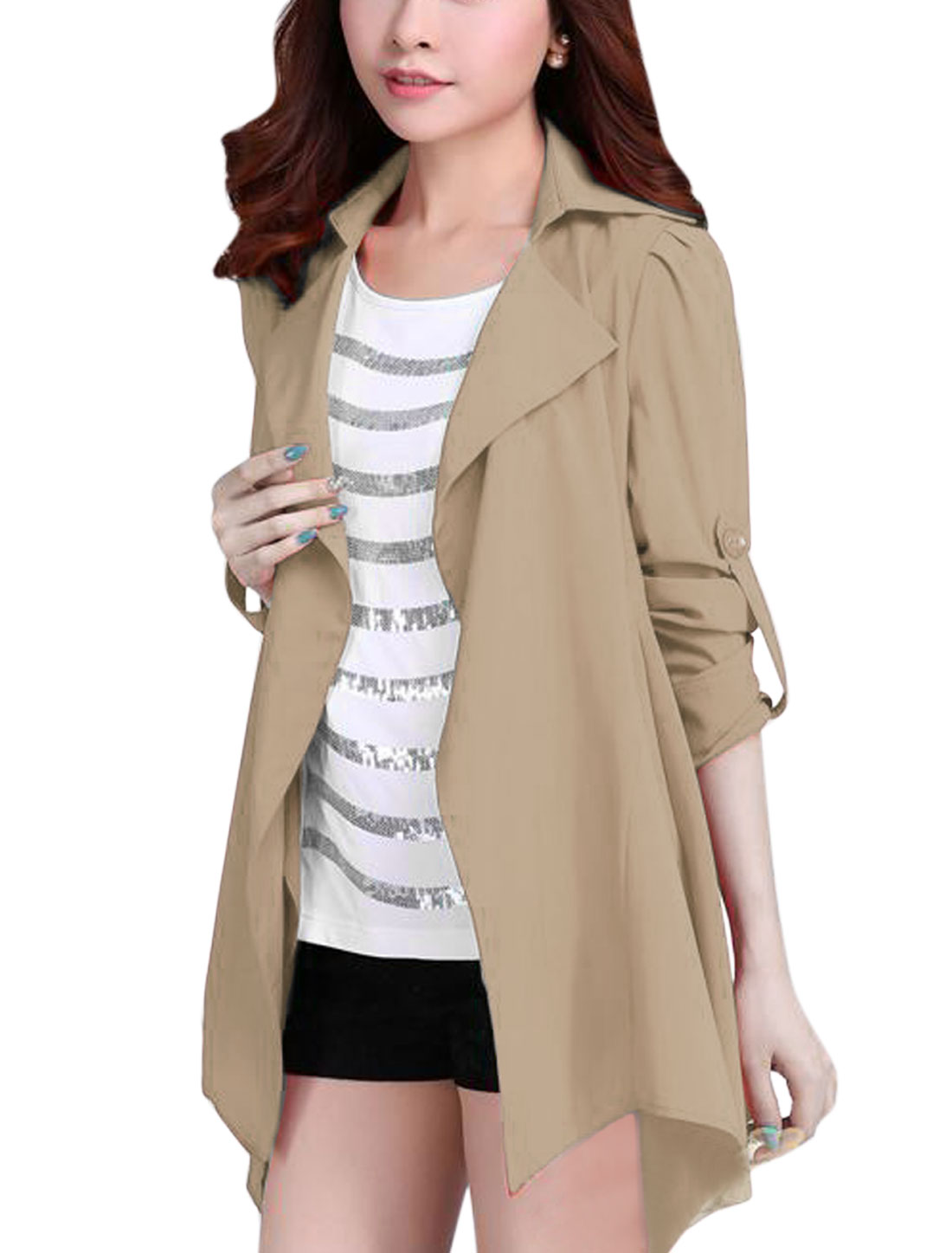 Lady Notched Lapel Strap Decor Back Casual Trench Coat Beige M