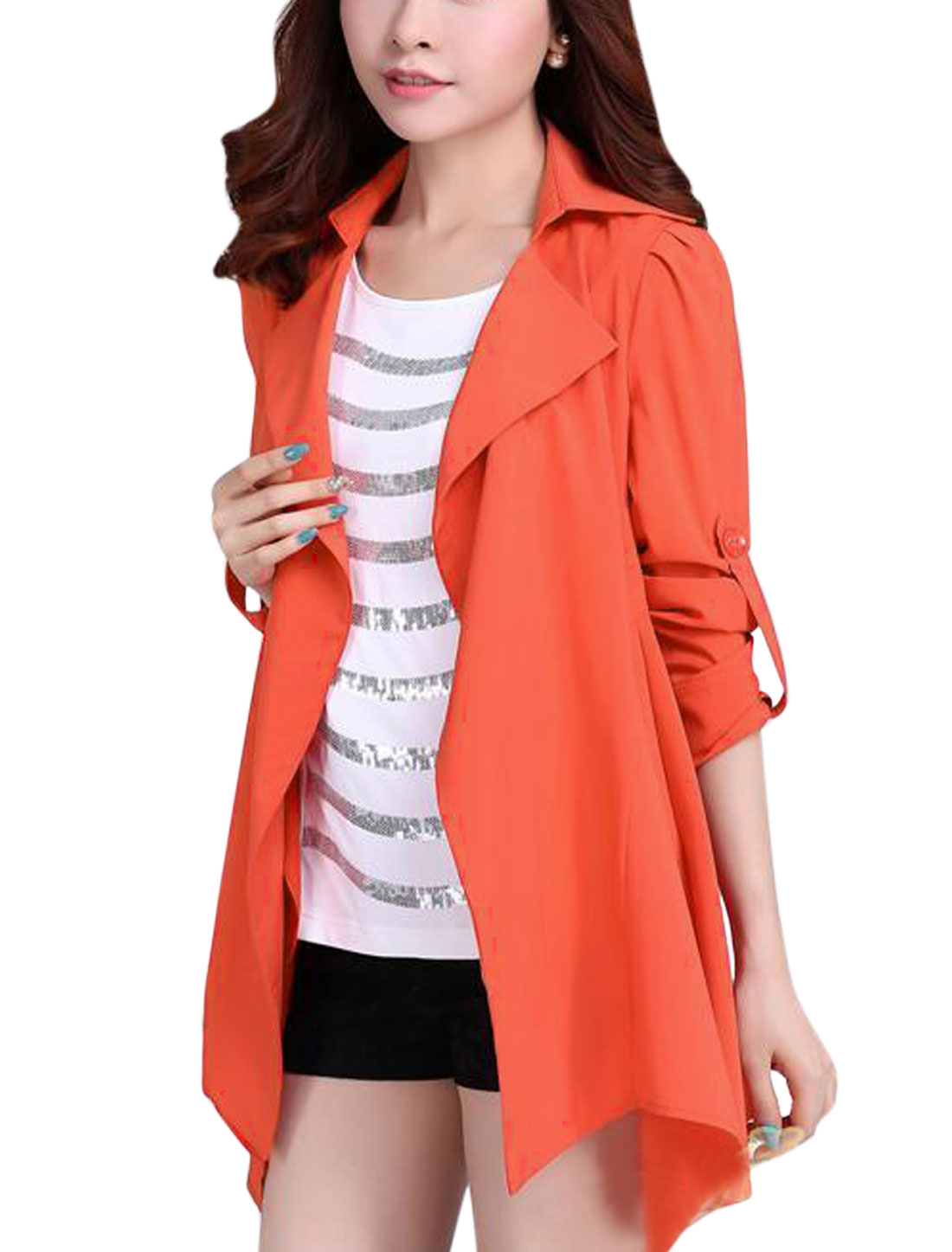 Lady Front Opening Asymmetric Hem Stylish Trench Coat Coral L