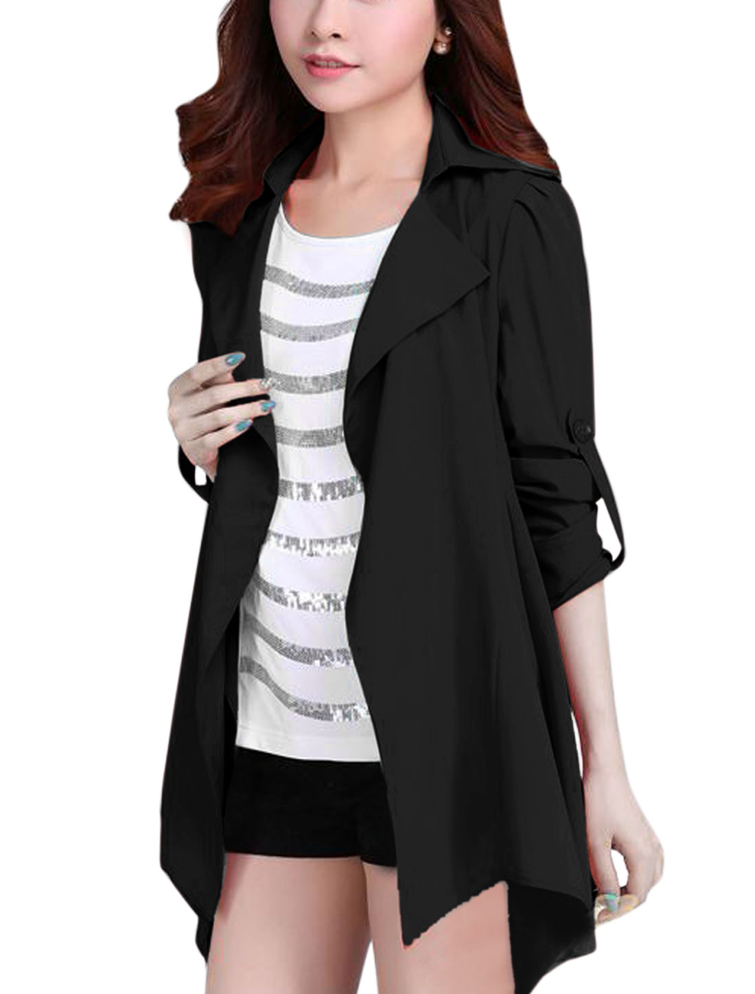 Cozy Fit Front Opening Fashion Casual Trench Coat for Lady Black L
