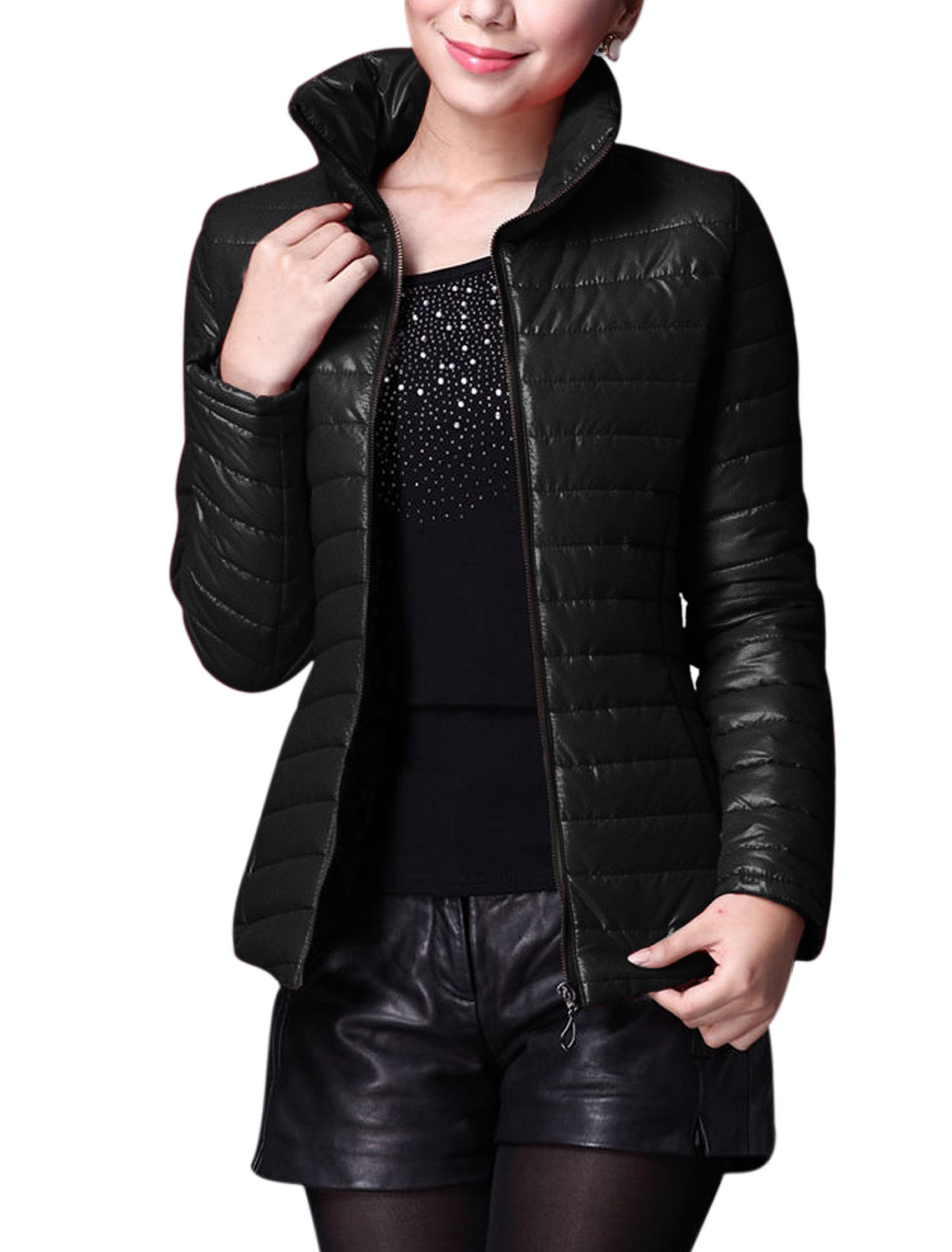 Lady Zip Up Double Hidden Zip-Up Pockets Slim Fit Padded Coat Black M