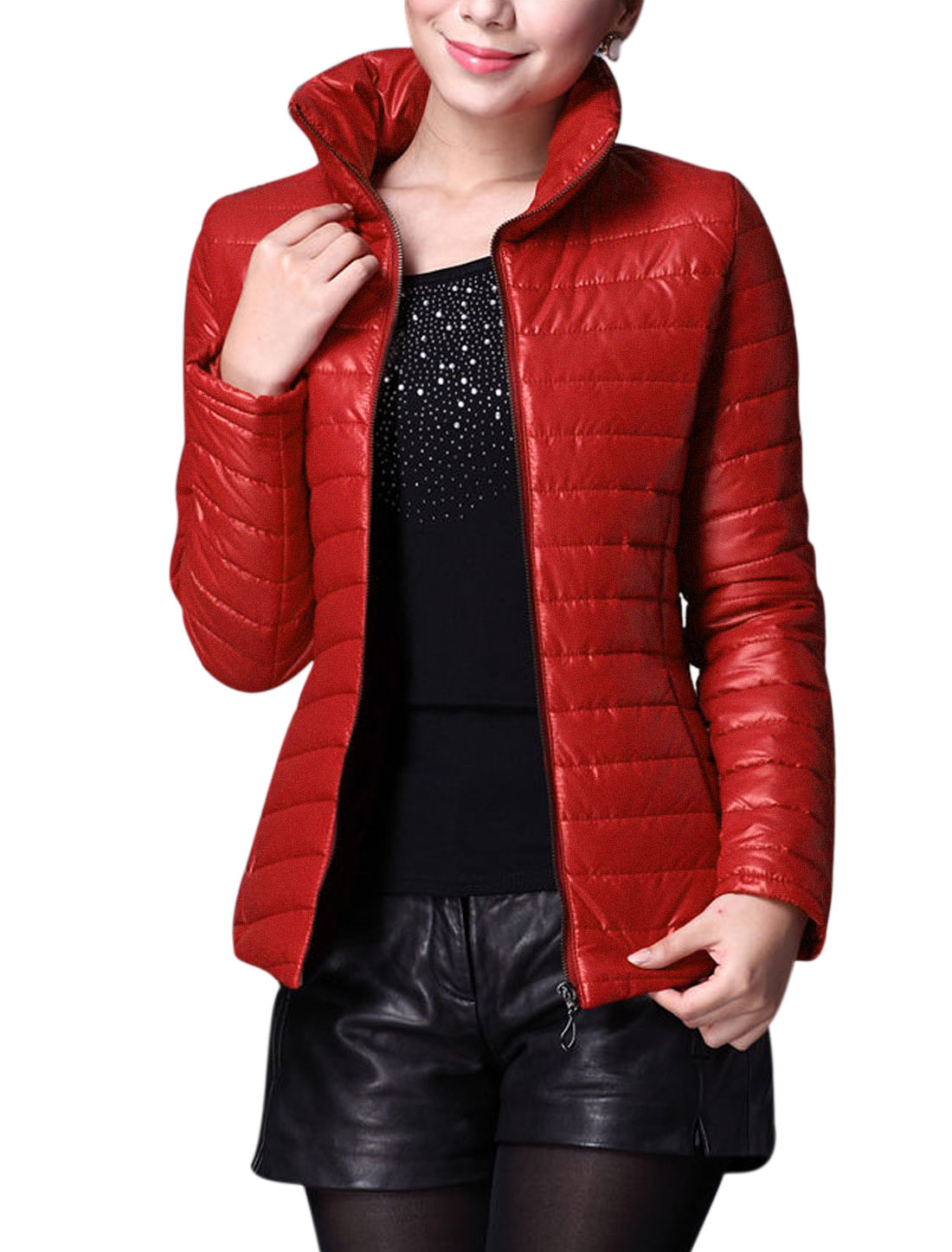 Women Stand Collar Zipper Closure Front Slim Padded Coat Red L