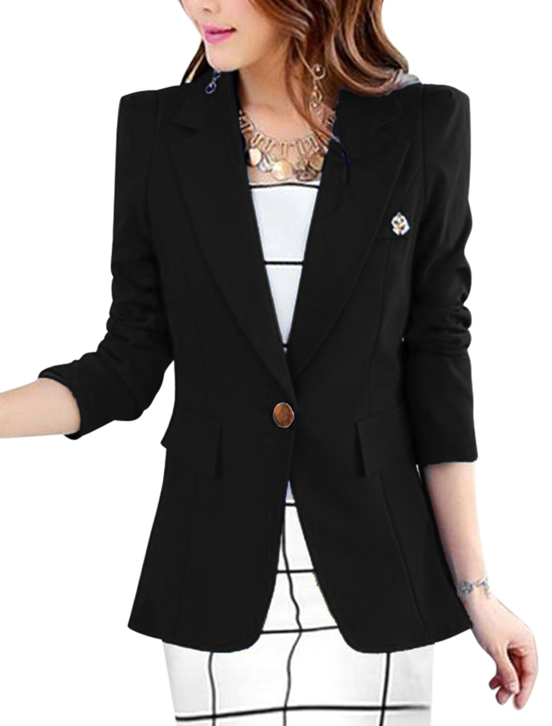Lady Notched Lapel One Button Closure Front Casual Blazer Black L