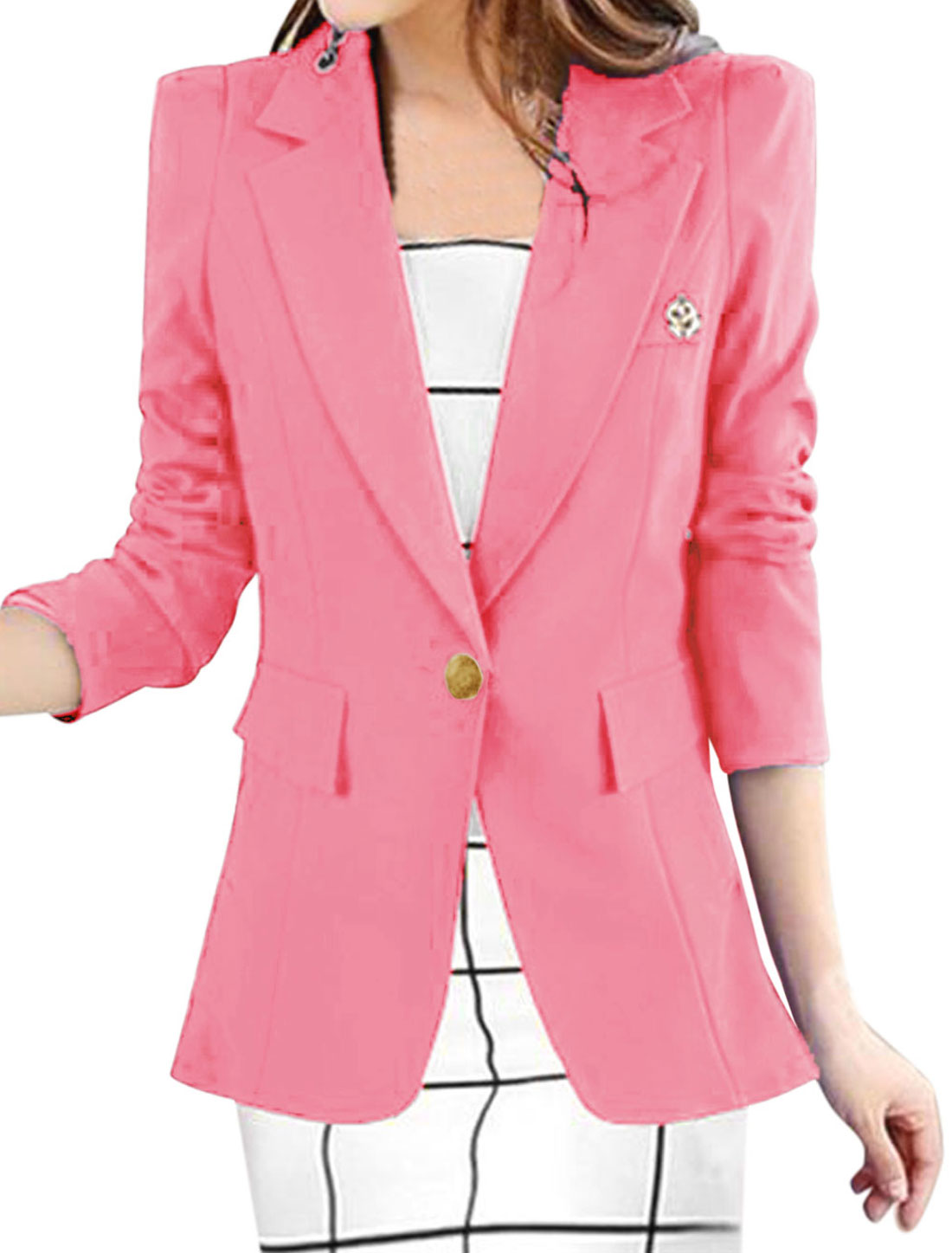 Lady Notched Lapel Double Slant Pockets Leisure Blazer Pink L