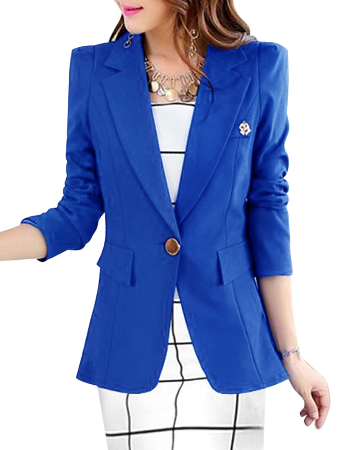 Lady One Button Closure Front Fashionable Casual Blazer Royal Blue L