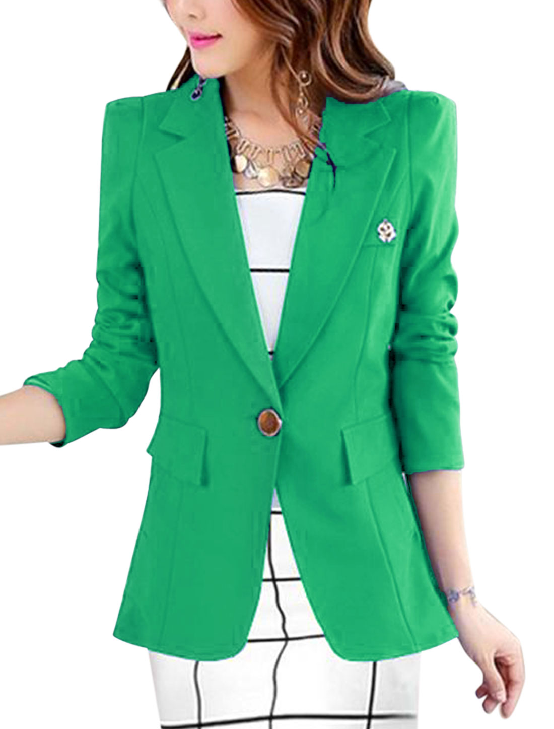 New Style Notched Lapel One Button Close Lining Blazer for Lady Green L