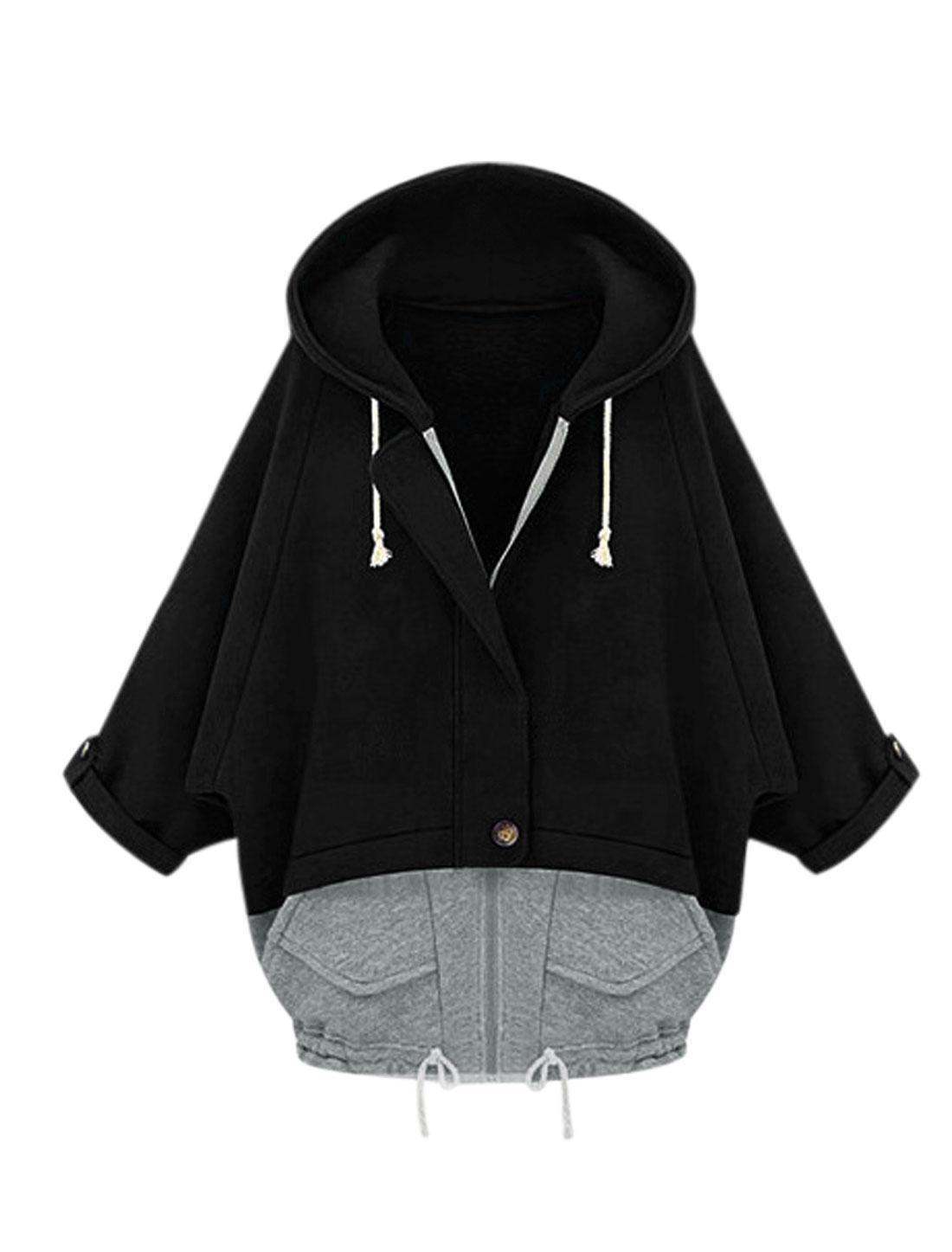 Lady Hooded Batwing Sleeve Zip Closure Color Block Sweatshirt Black Gray S