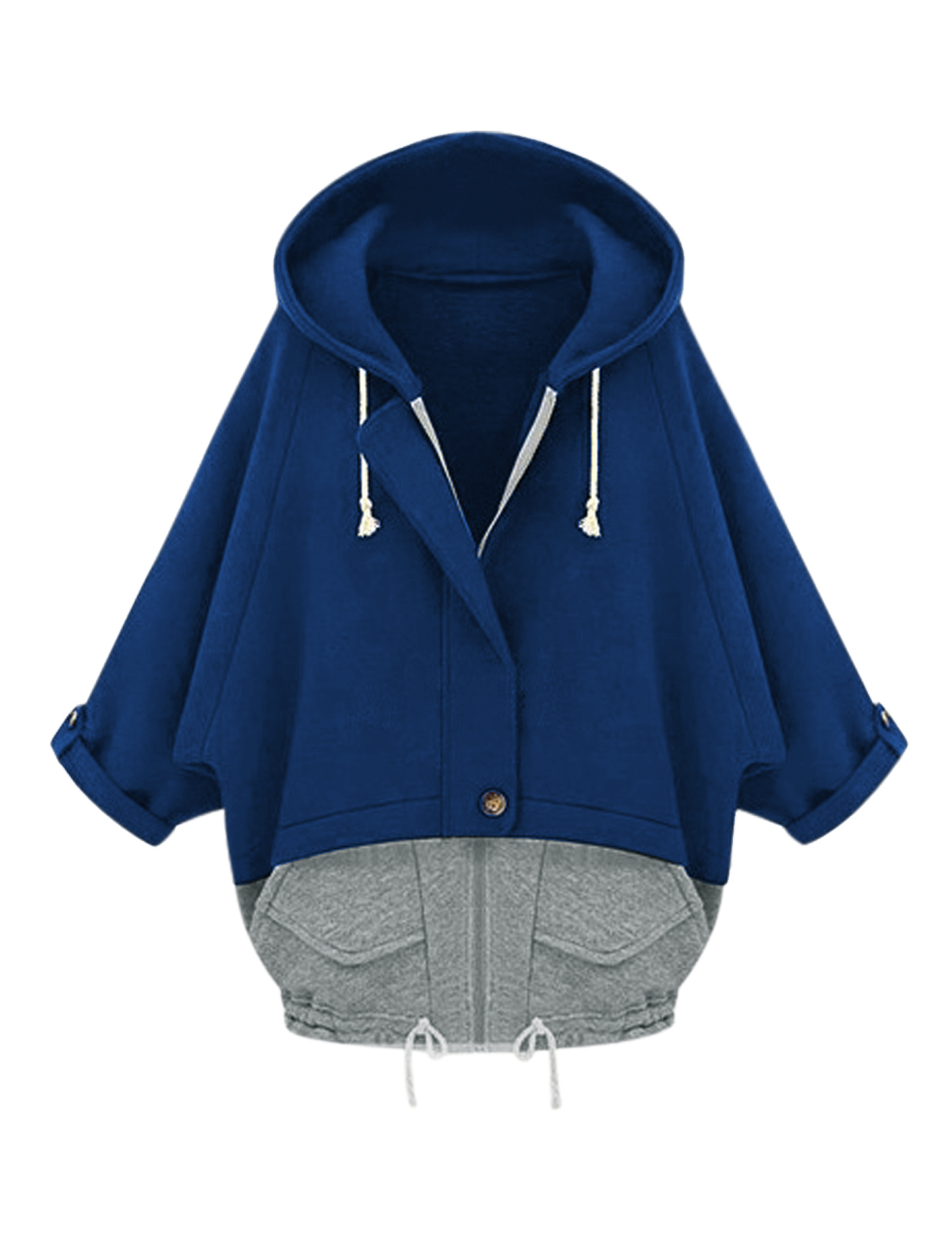 Lady Hooded Bat Sleeve Color Blocked Sweatshirt Dark Blue Gray S