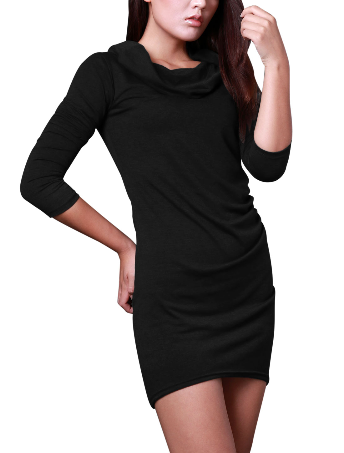 Lady Cowl Neck Ruched Detail Slim Fit Stretch Dress Black S