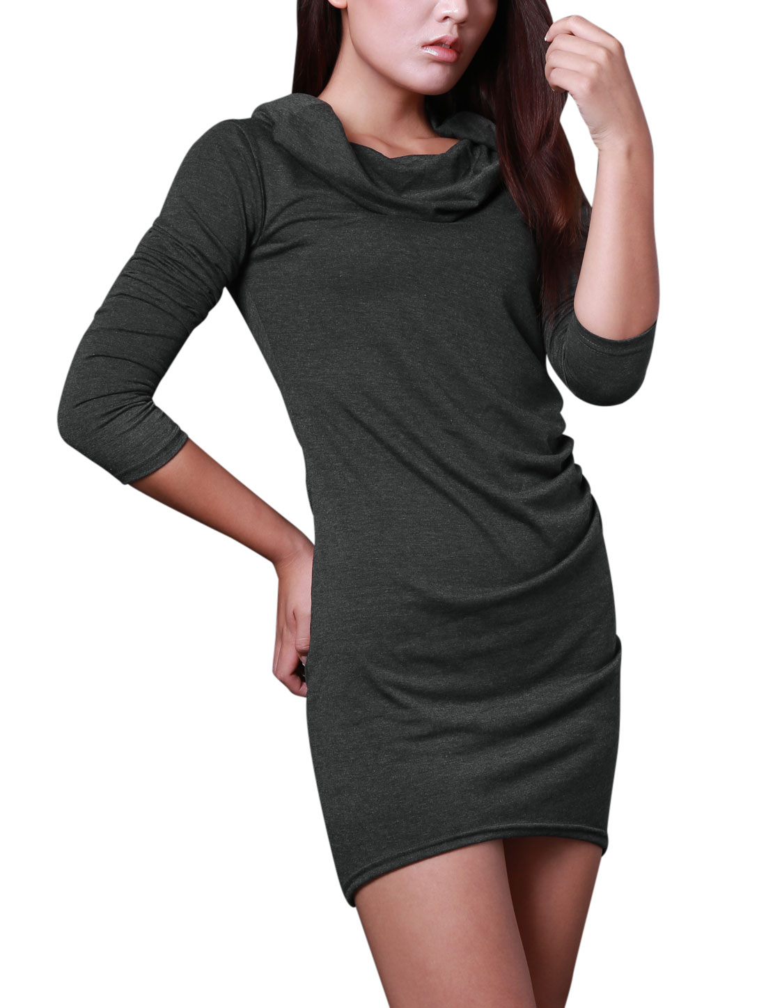 New Style Sexy Cowl Neck Stretch Dress for Lady Dark Gray S