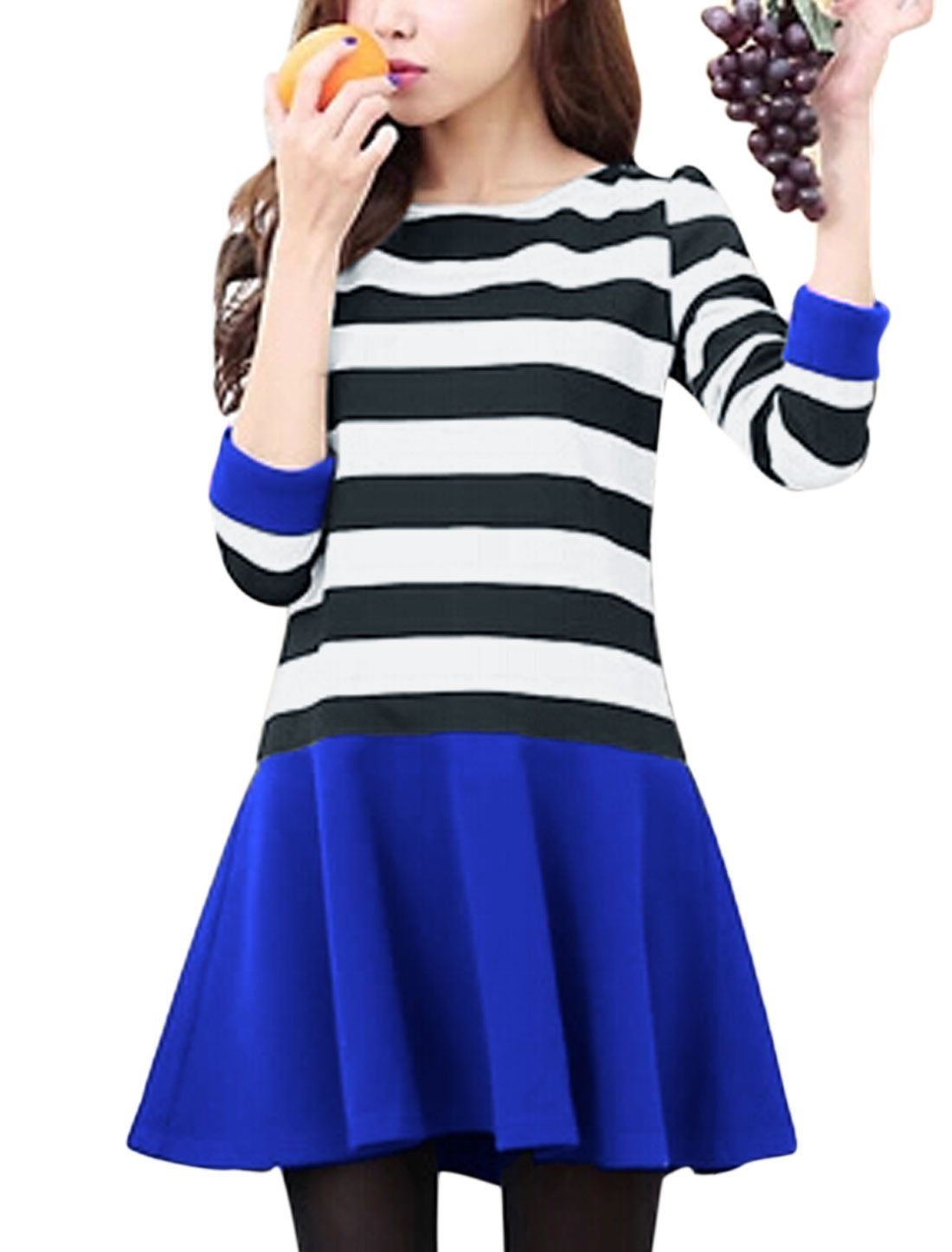 Ladies Multicolor Round Neck Long Sleeves Stripes Casual Dress S