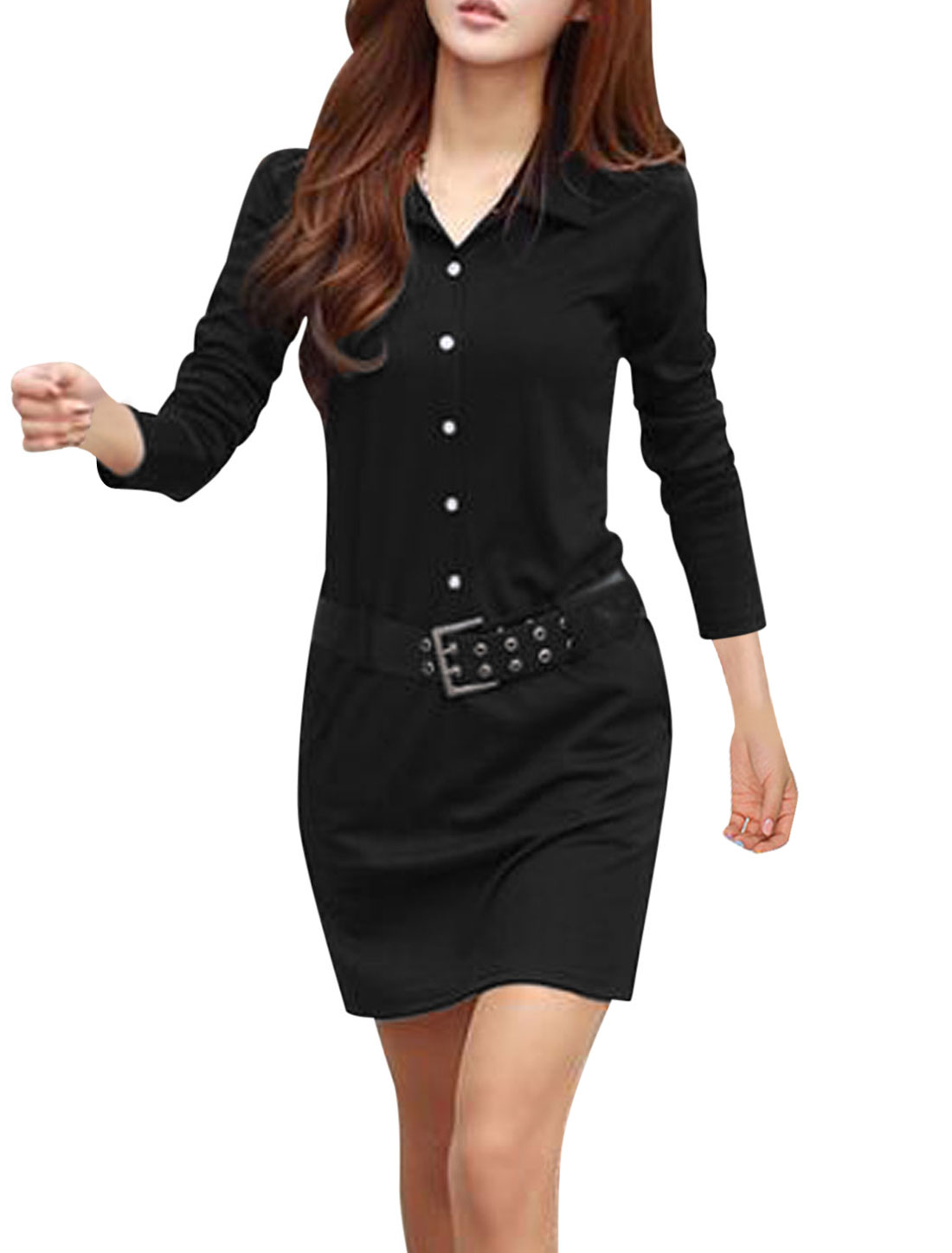 Women Button Closure Front Belt Loop Short Dress w Belt Black S