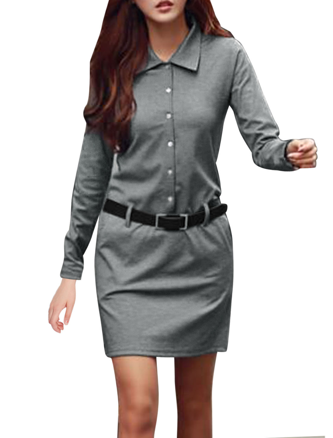 Lady Pullover Belt Loop Double Slant Pockets Leisure Short Dress Gray S