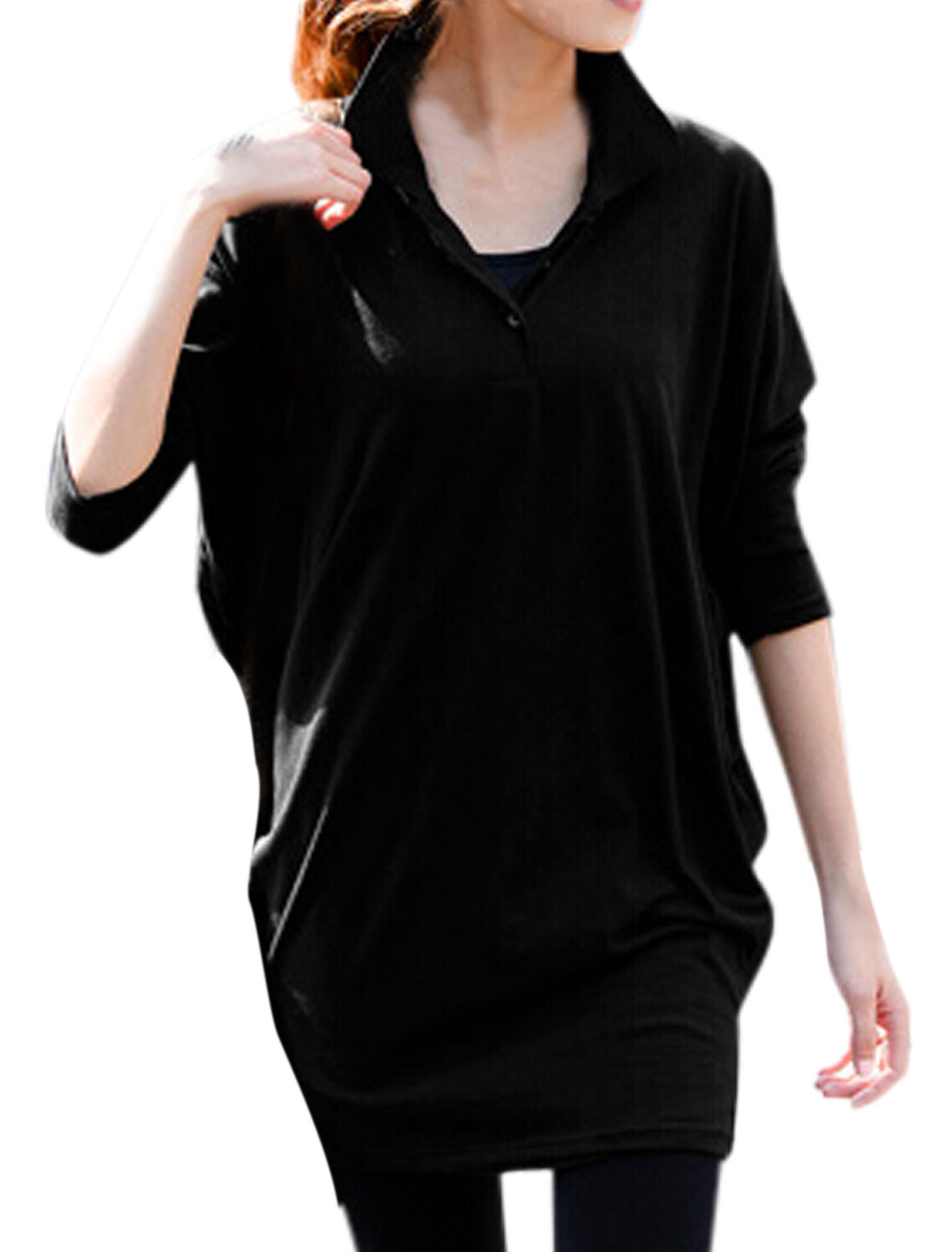 Women Pullover Batwing Sleeve Casual Loose Fit Tunic Top Black XS