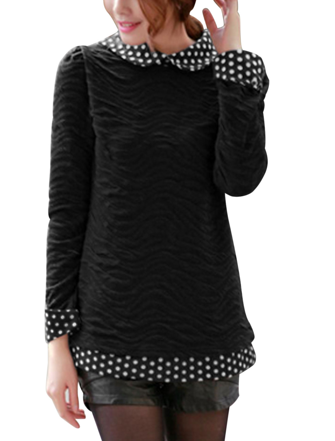 Ladies Black Peter Pan Collar Long Sleeves Splice Slim Fit Casual Top XS