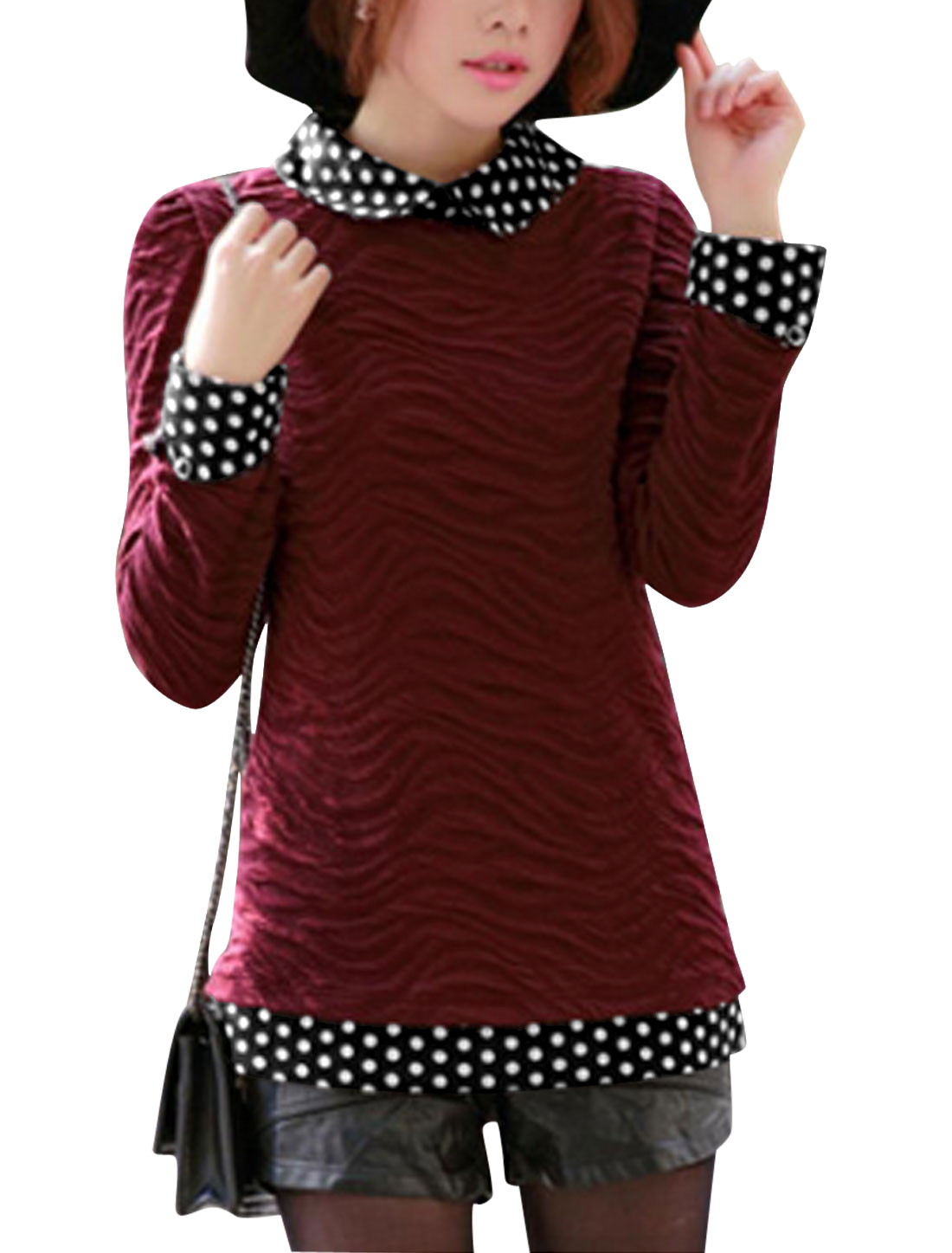 Ladies Burgundy Peter Pan Collar Long Sleeves Splice Slim Fit Casual Top XS