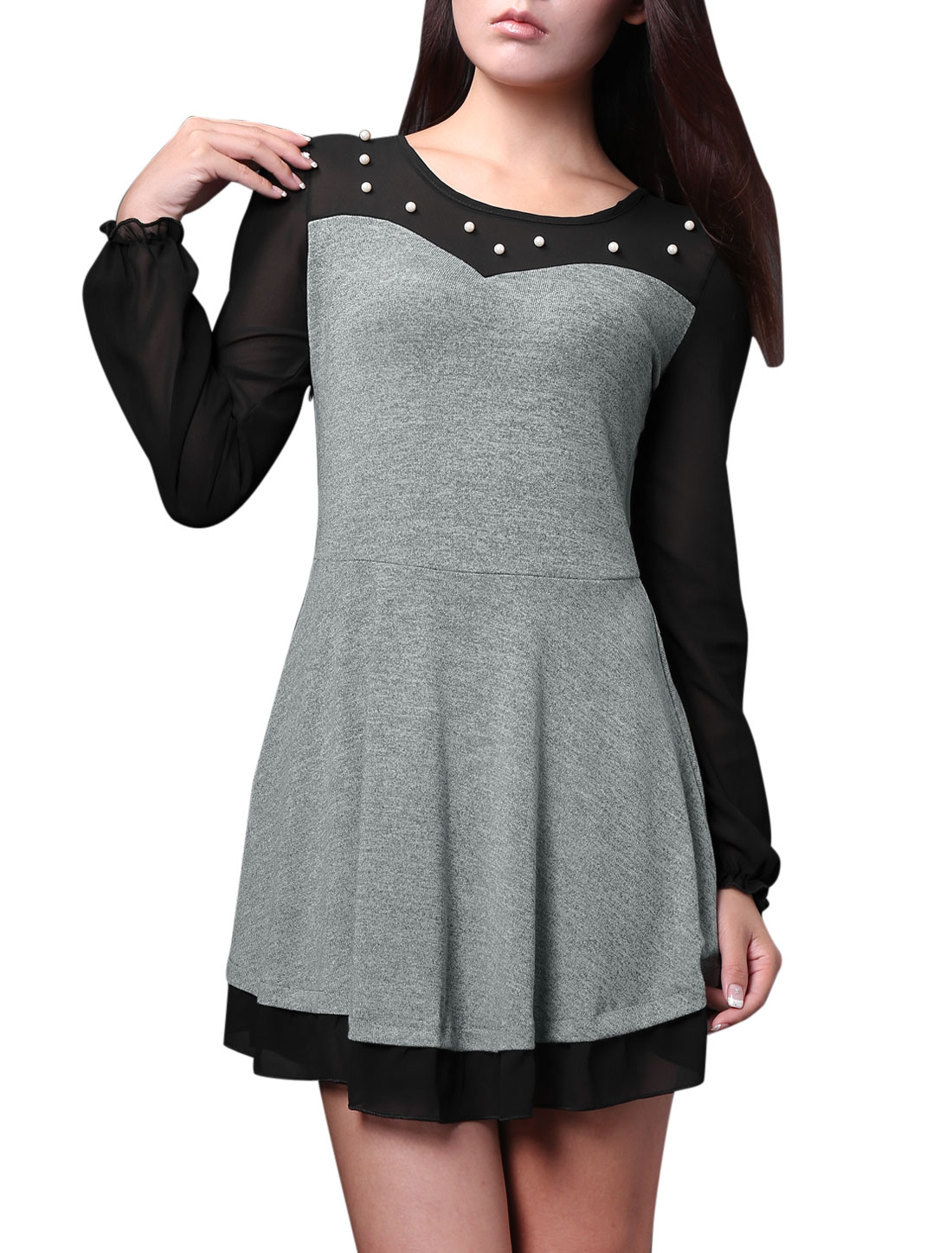 Lady Round Neck Chiffon Panel Fashion Casual Dress Light Gray Black S