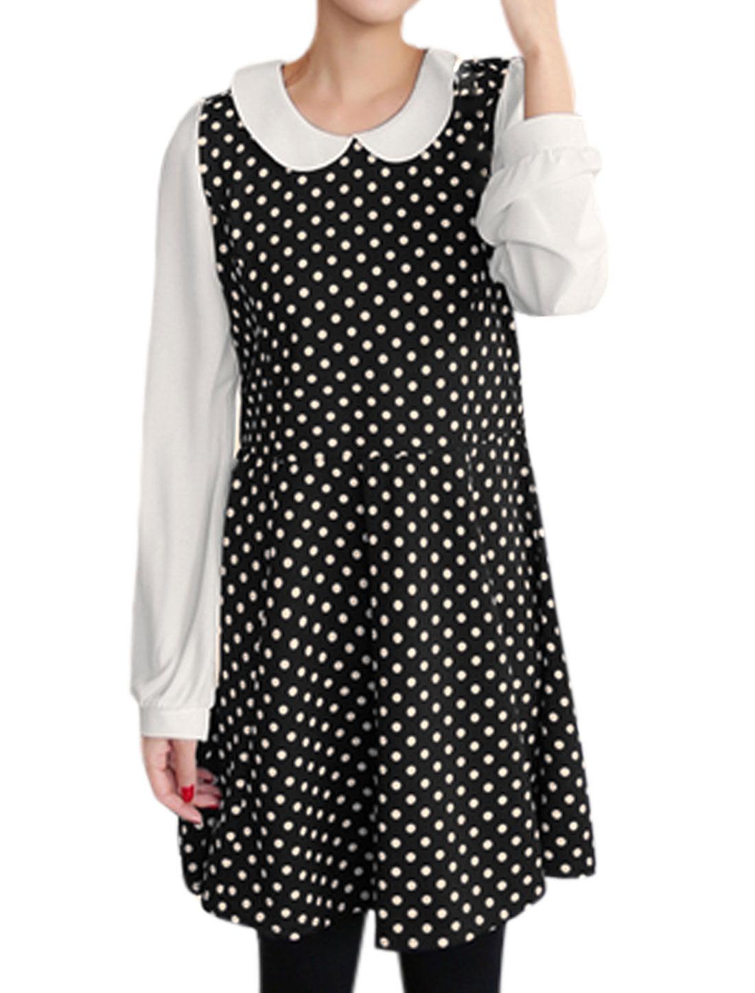 Lady Peter Pan Collar Dots Pattern Fashion Casual Dress Black White M