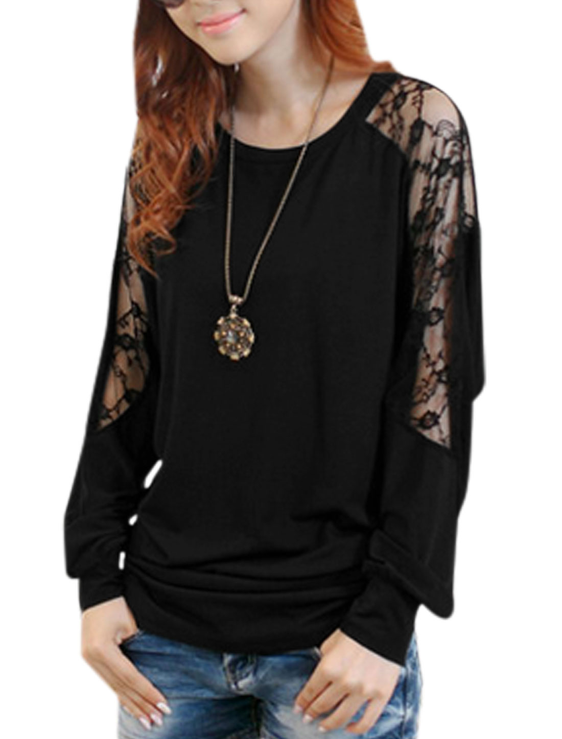 Women Lace Panel Design Long Batwing Sleeves Shirt Black XS