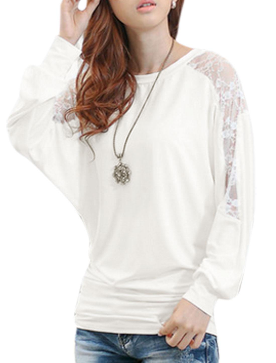 Ladies Semi Sheer Lace Panel Round Neck White Shirt XS