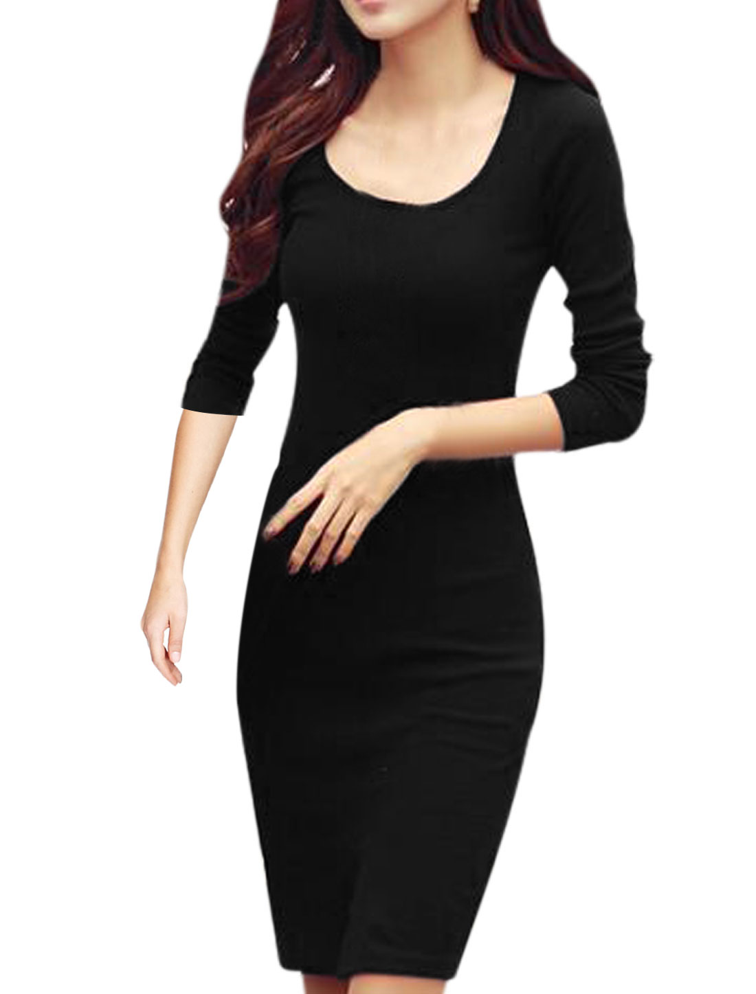 Women Round Neck Long Sleeve Split Front Slim Fit Sheath Dress Black M