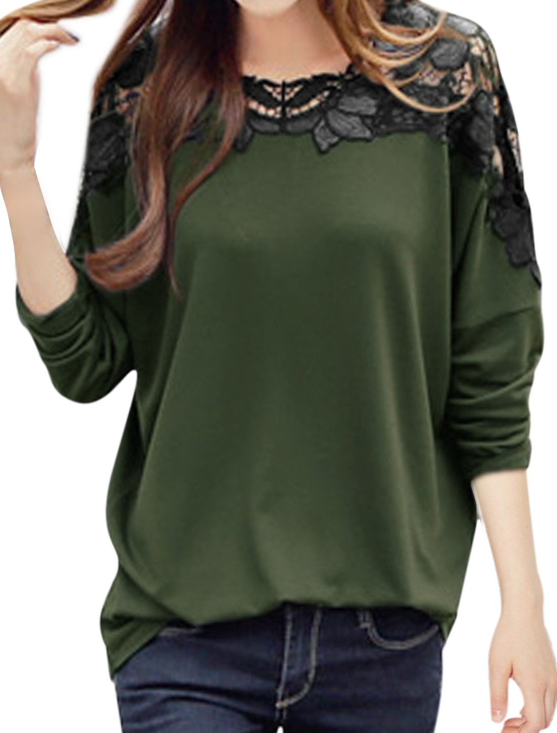 Ladies Army Green Scalloped Neck Batwing Sleeves Crochet Splice Casual Shirt M