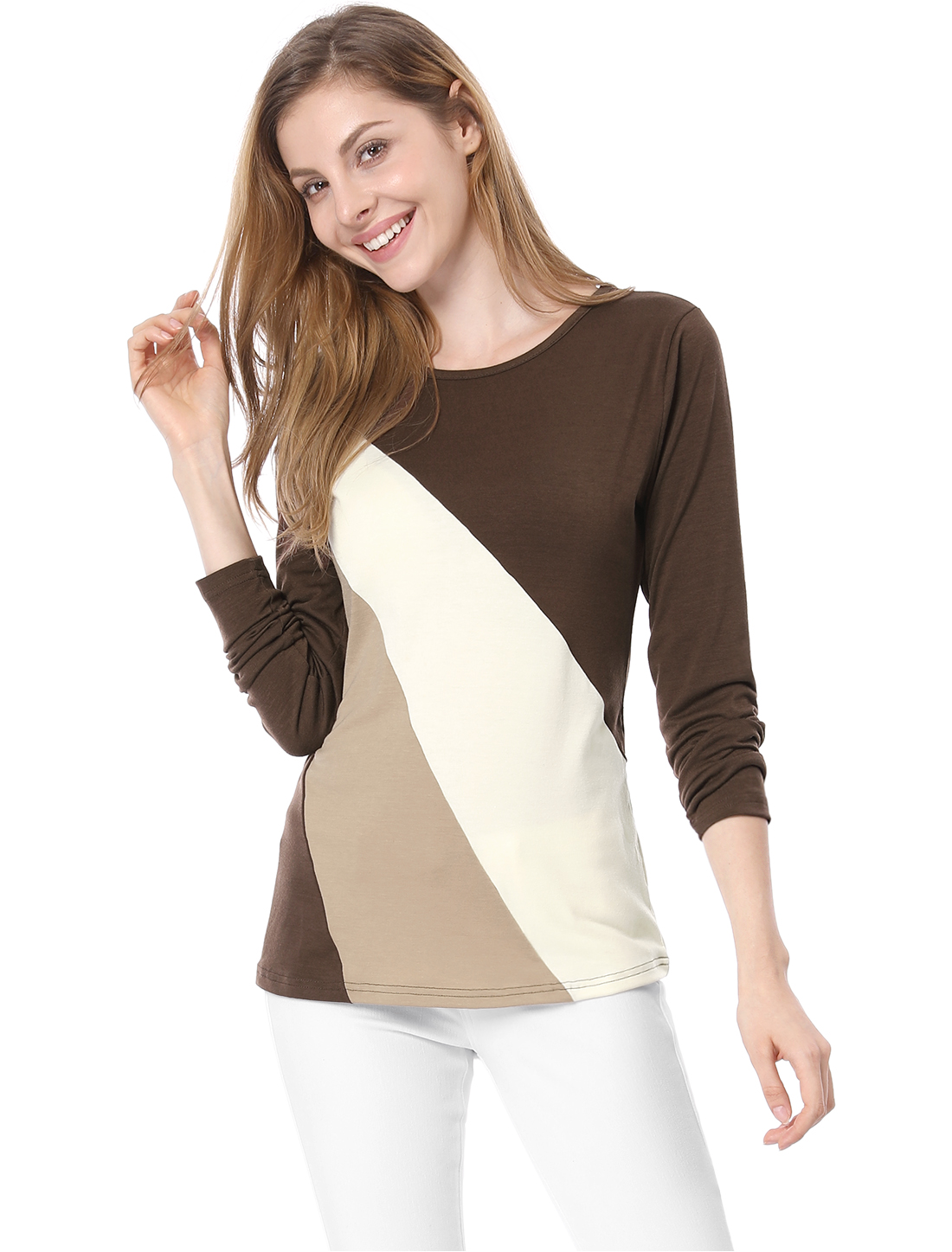 Women Color Block Round Neck Long Sleeve Slim T-Shirt Brown Beige M