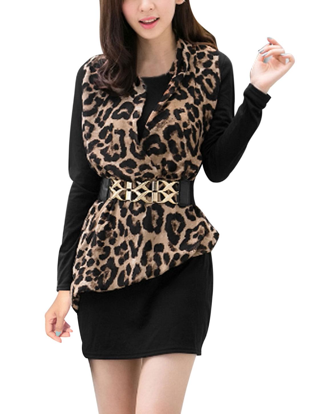 Ladies Black Long Sleeves Round Neck Chiffon Splice Slim Fit Dress S