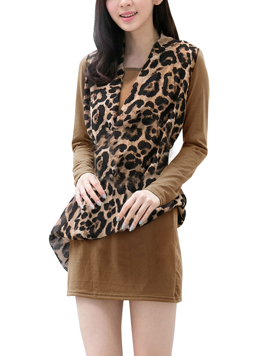 Ladies Dark Khaki Long Sleeves Round Neck Leopard Prints Chiffon Splice Dress S