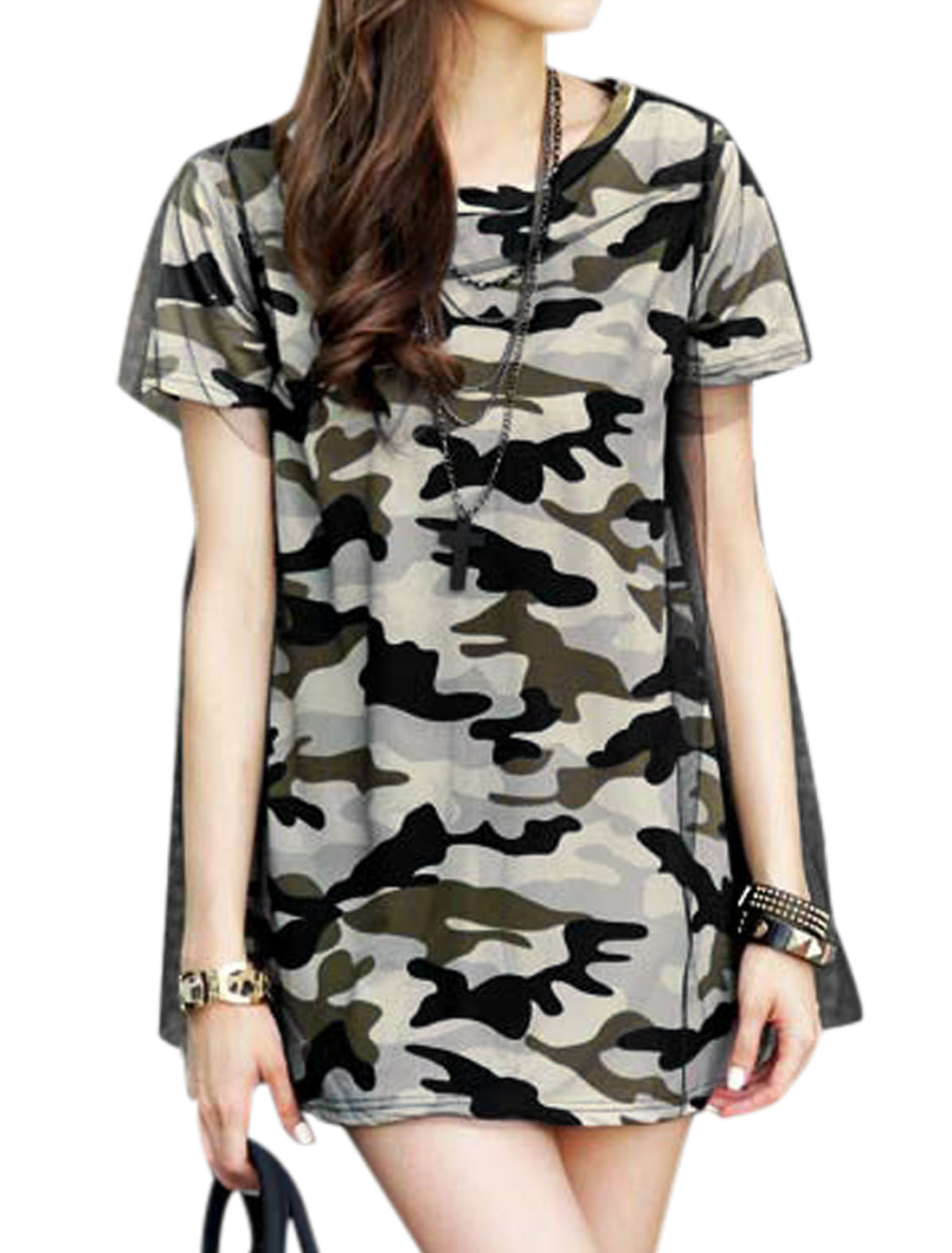 Women Camouflage Pattern Mesh Panel Pullover Tunic Top Multicolor S