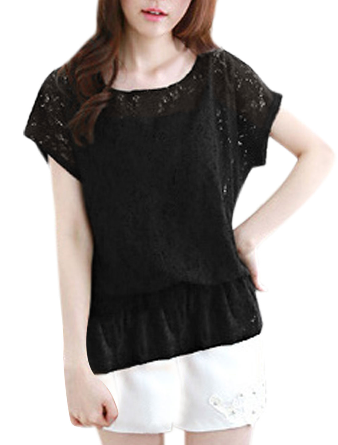Women Flower Design Hollow Out Elastic Waist Round Neck Top Black S